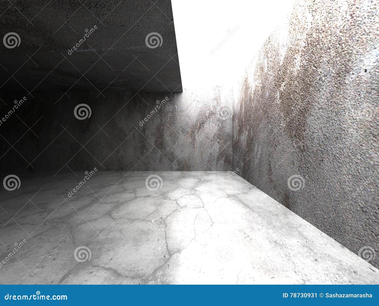 Mörk betongväggruminre med takljus
