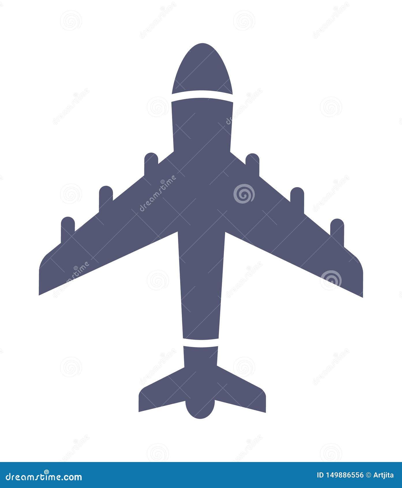 Mörk enkel flygplansymbol i plan stilvektor