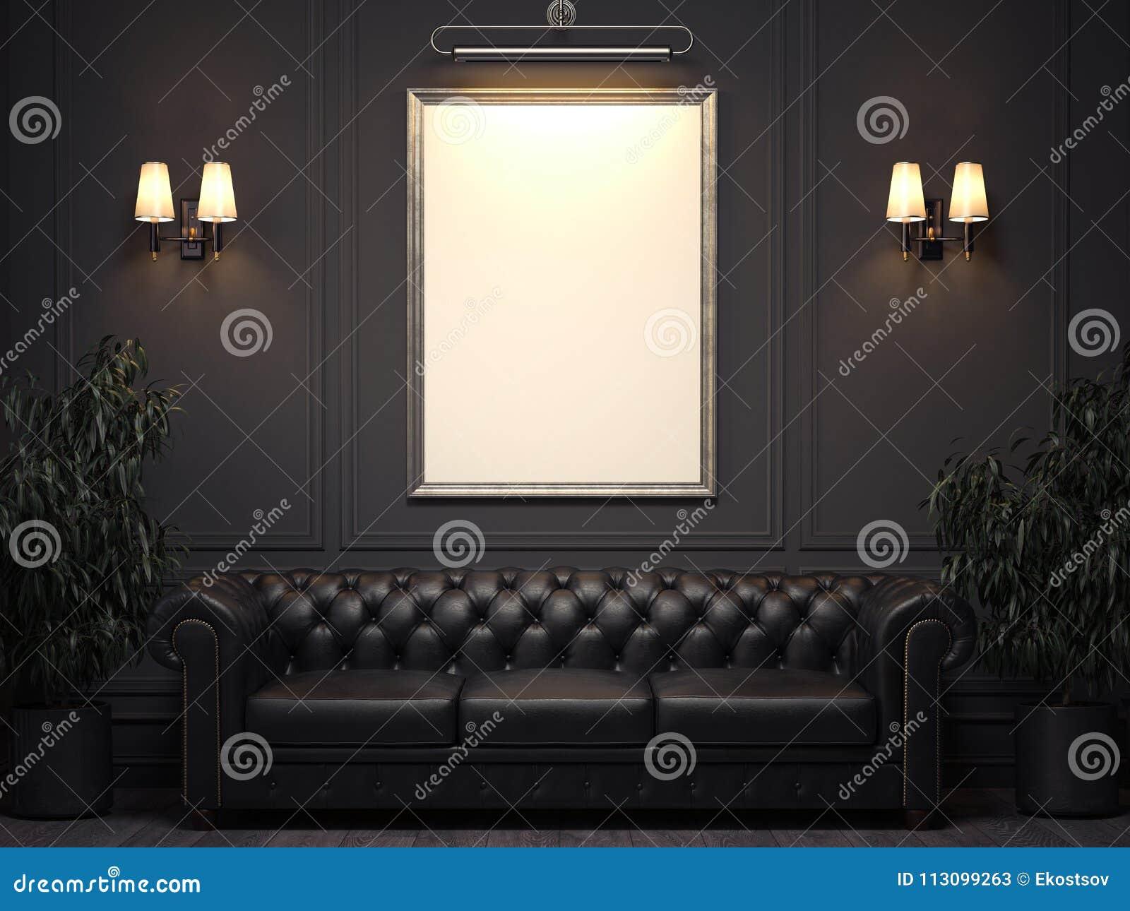Mörk klassisk inre med soffa- och bildramen på väggen framförande 3d