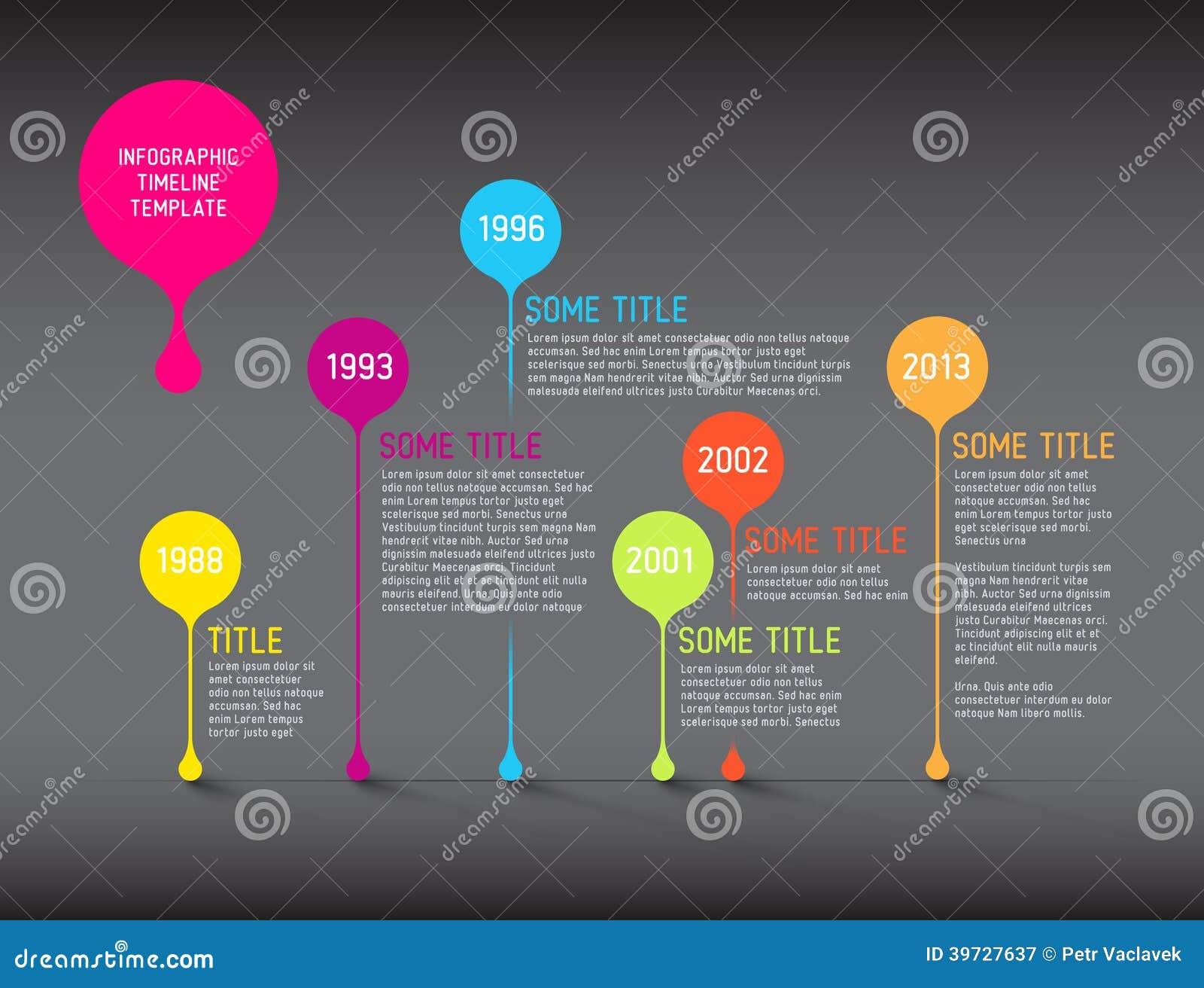 Mörk mall för Infographic timelinerapport med bubblor