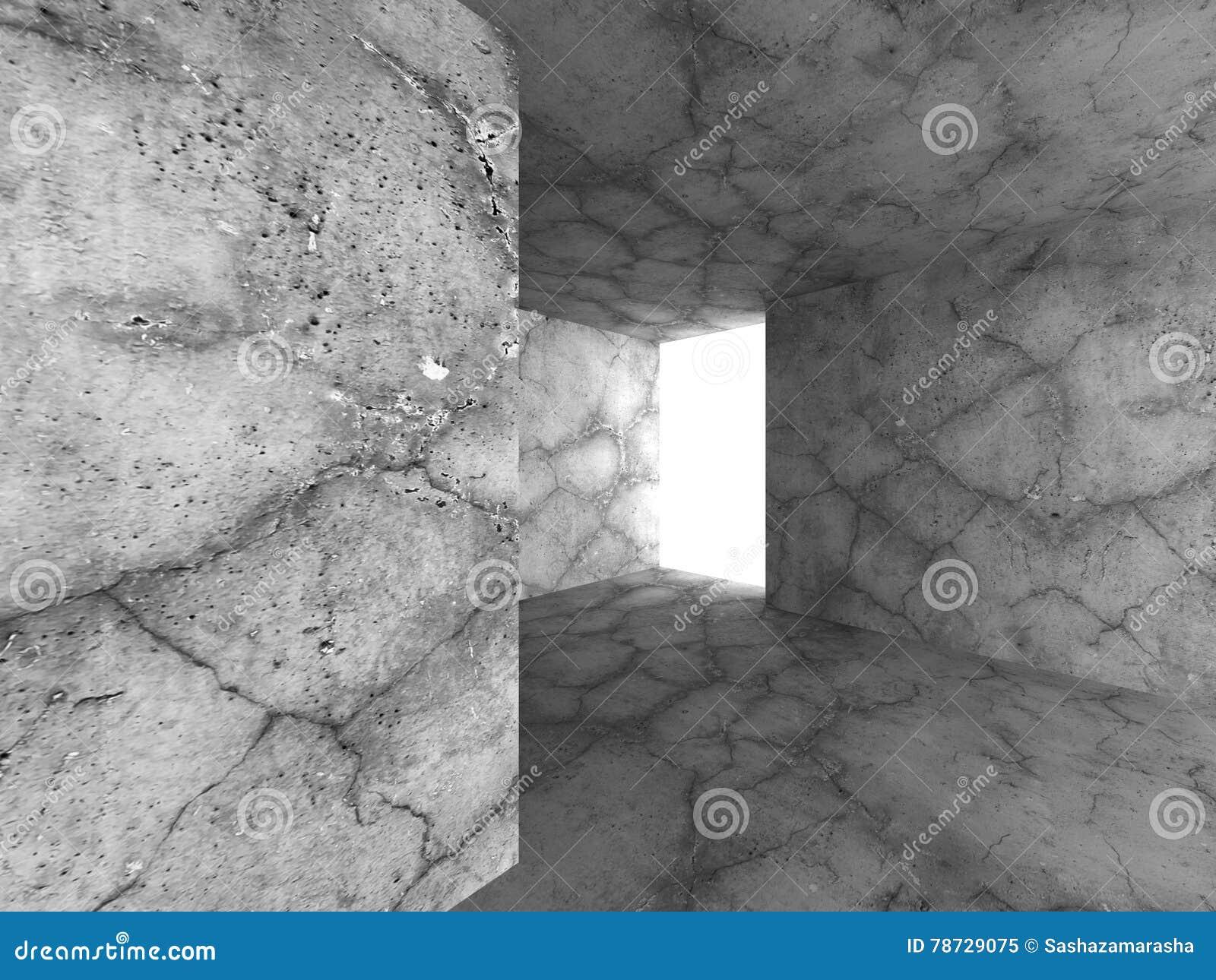 Mörk tom betongväggruminre Industriell stads- archit