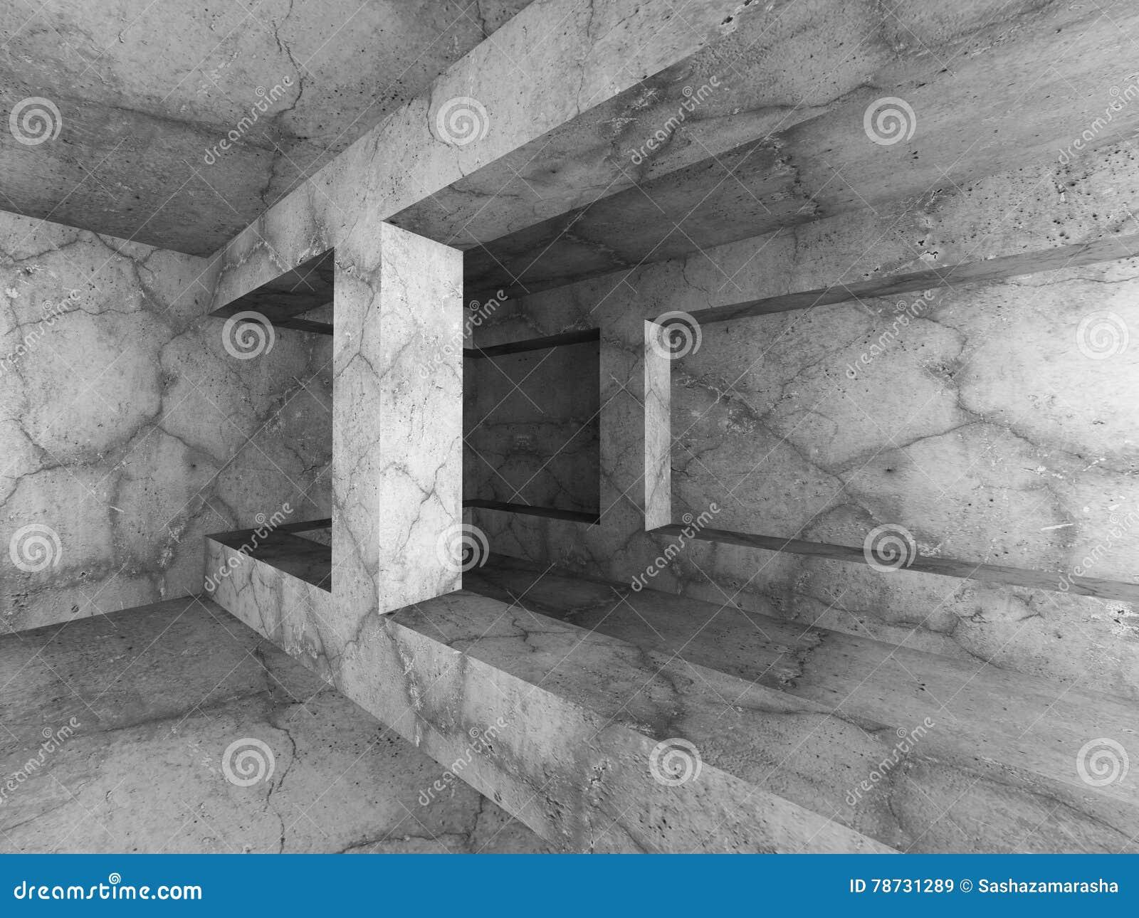 Mörk tom inre för källarebetongrum Minimalistic archite