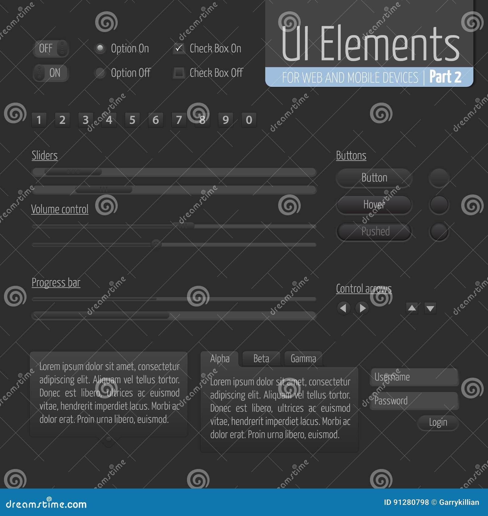 Mörk UI-beståndsdeldel 1: Glidare- och framstegstången med knappar och bemyndigande bildar, volymkontroll etc.