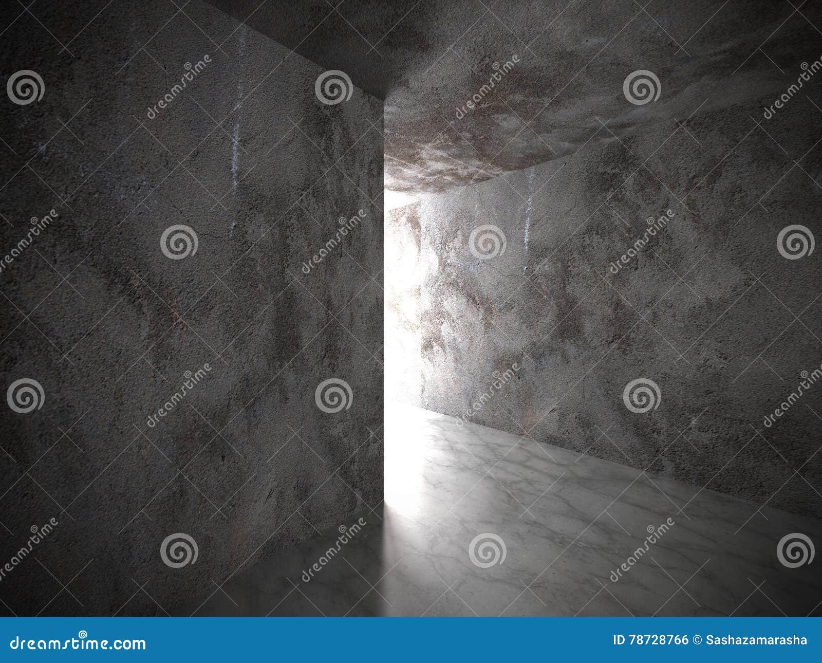 Mörka betongväggar tömmer rum med utgångsljus Grungearkitekt