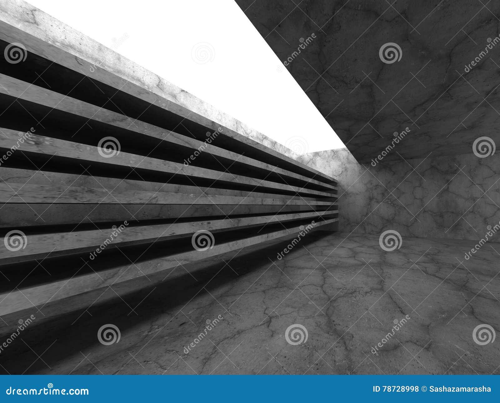 Mörka tomma betongväggar hyr rum inre med takljus