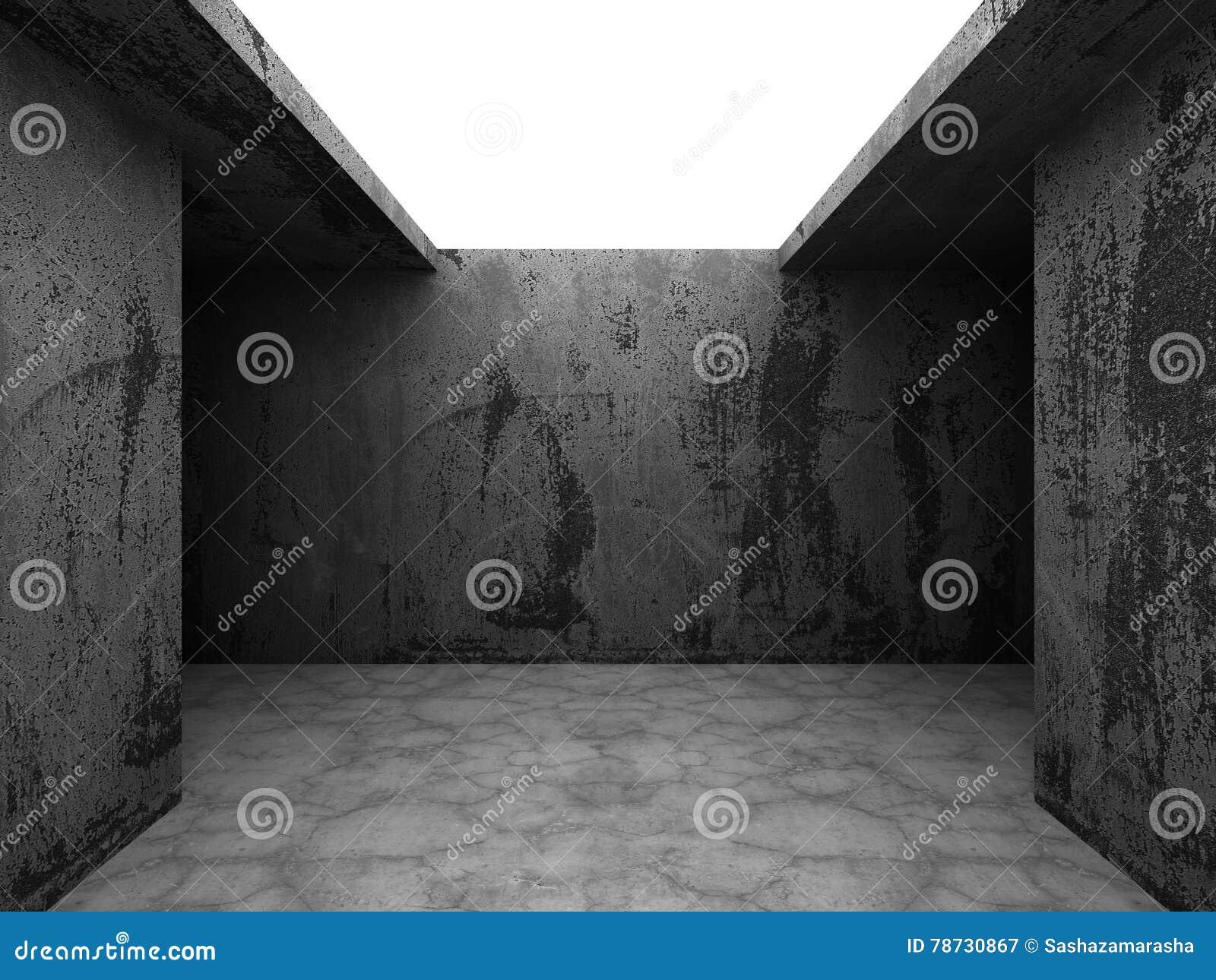 Mörka tomma betongväggar hyr rum inre med takljus _