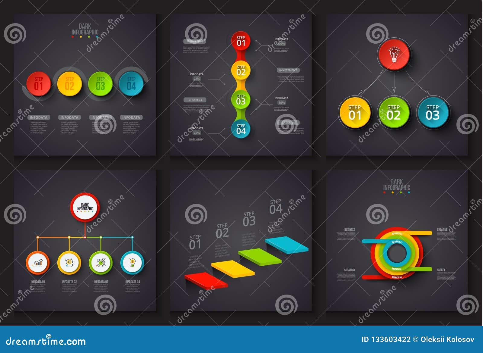 Mörka vektorbeståndsdelar för infographic Mall för diagram, graf, presentation och diagram Affärsidé med 3, 4