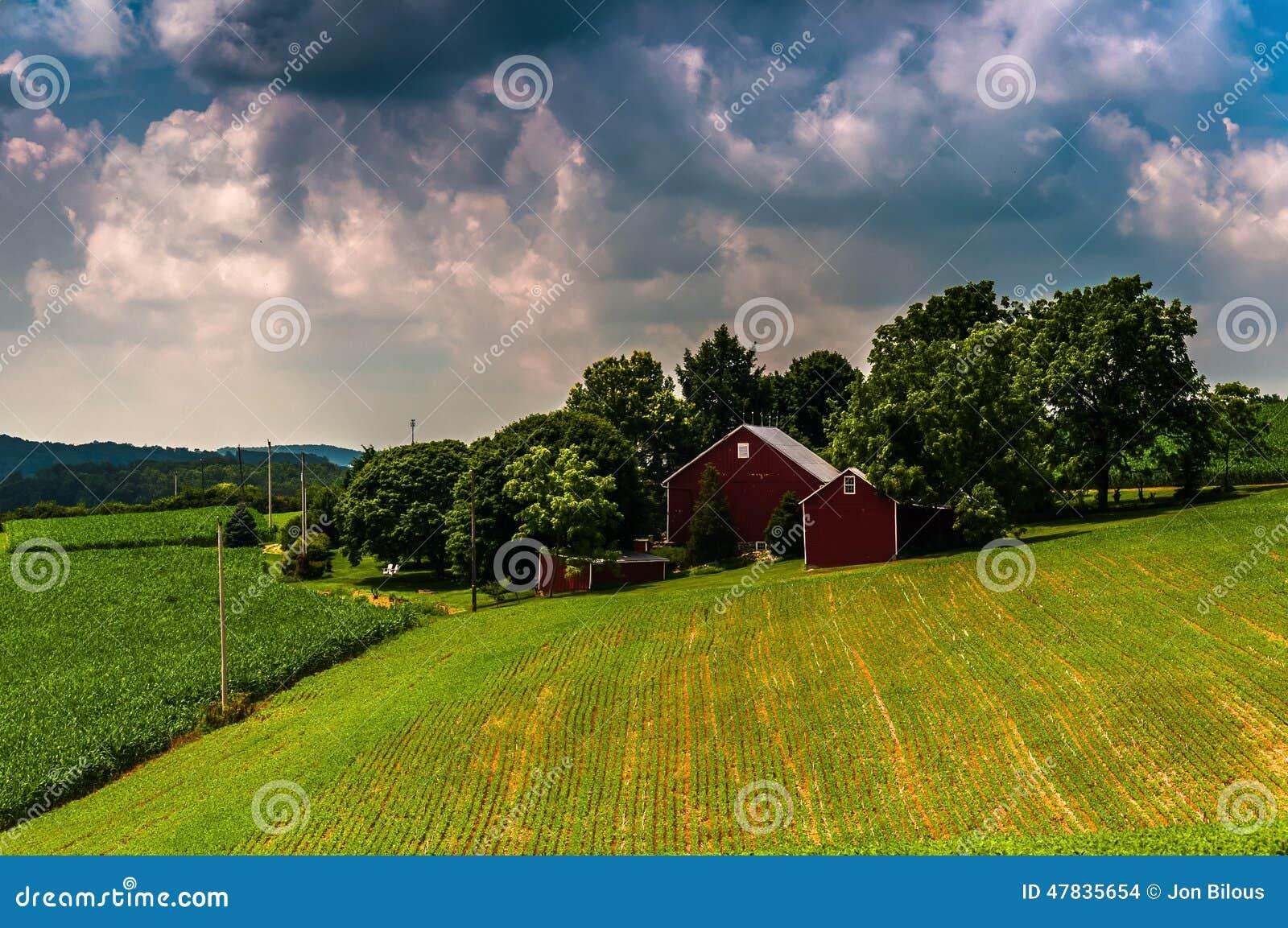 Mörker fördunklar över fält för en ladugård och lantgårdi lantliga sydliga York C