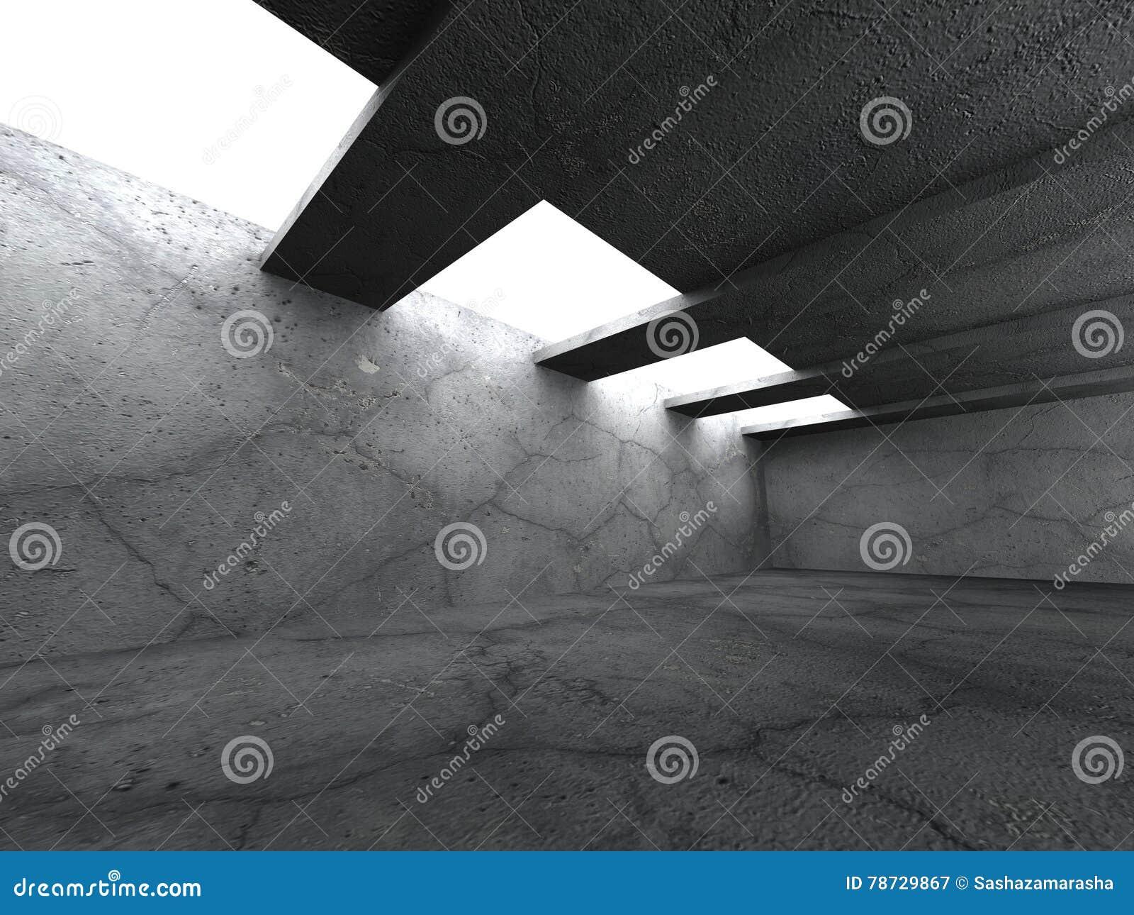 Mörkerbetongrum med takfönsterljus
