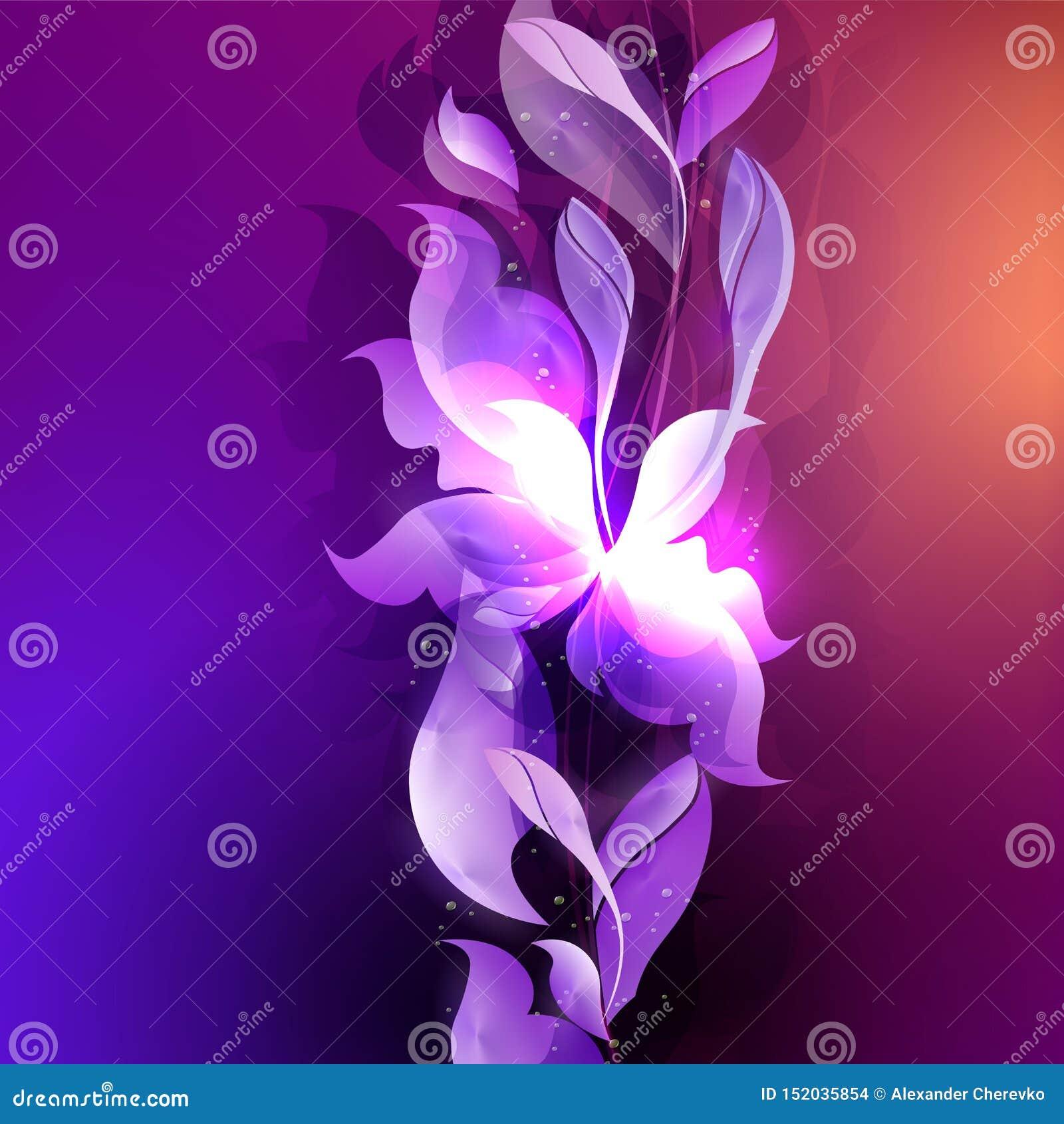 Mörkt - blått med purpurfärgad bakgrund med abstrakta blad- och blommakonturer