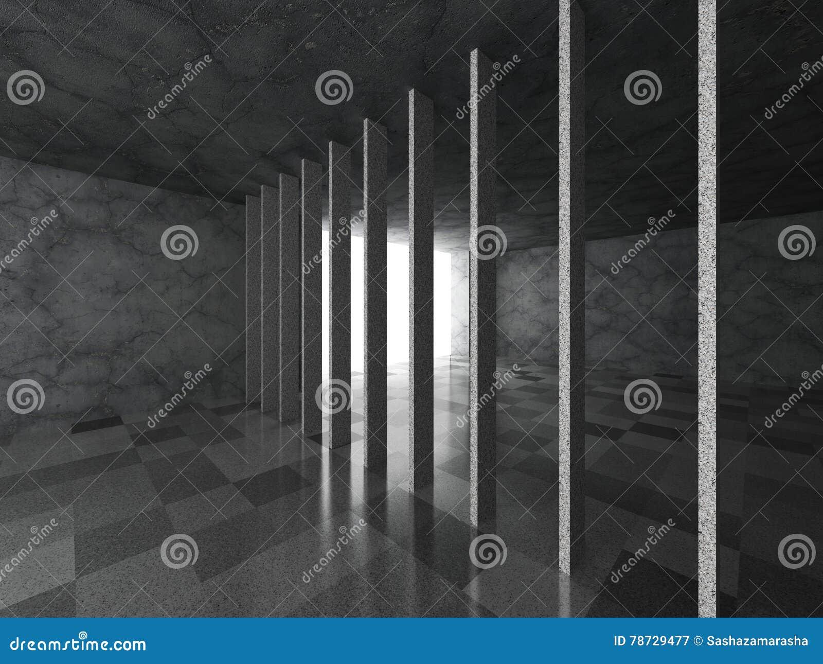 Mörkt modernt tomt konkret rum med tegelplattagolvet Abstrakt archit