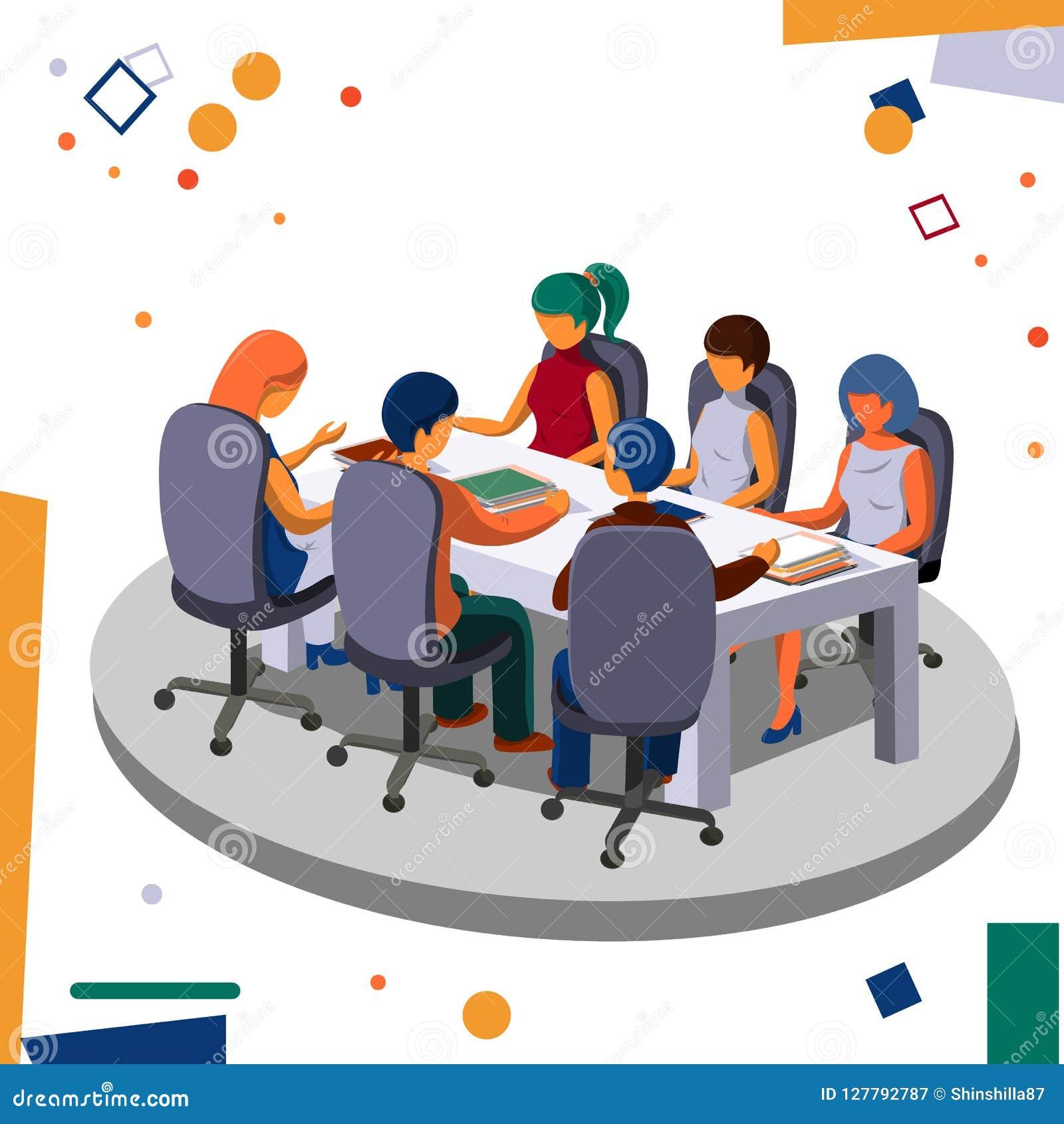 Möte av personalen i kontoret i konferensrummet Affär och kontor