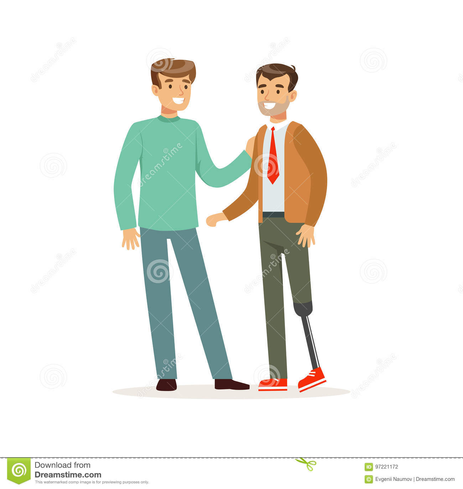 Möte av vänner, två män som talar, en man med benprotes, färgrika sjukvårdhjälp och tillgänglighet