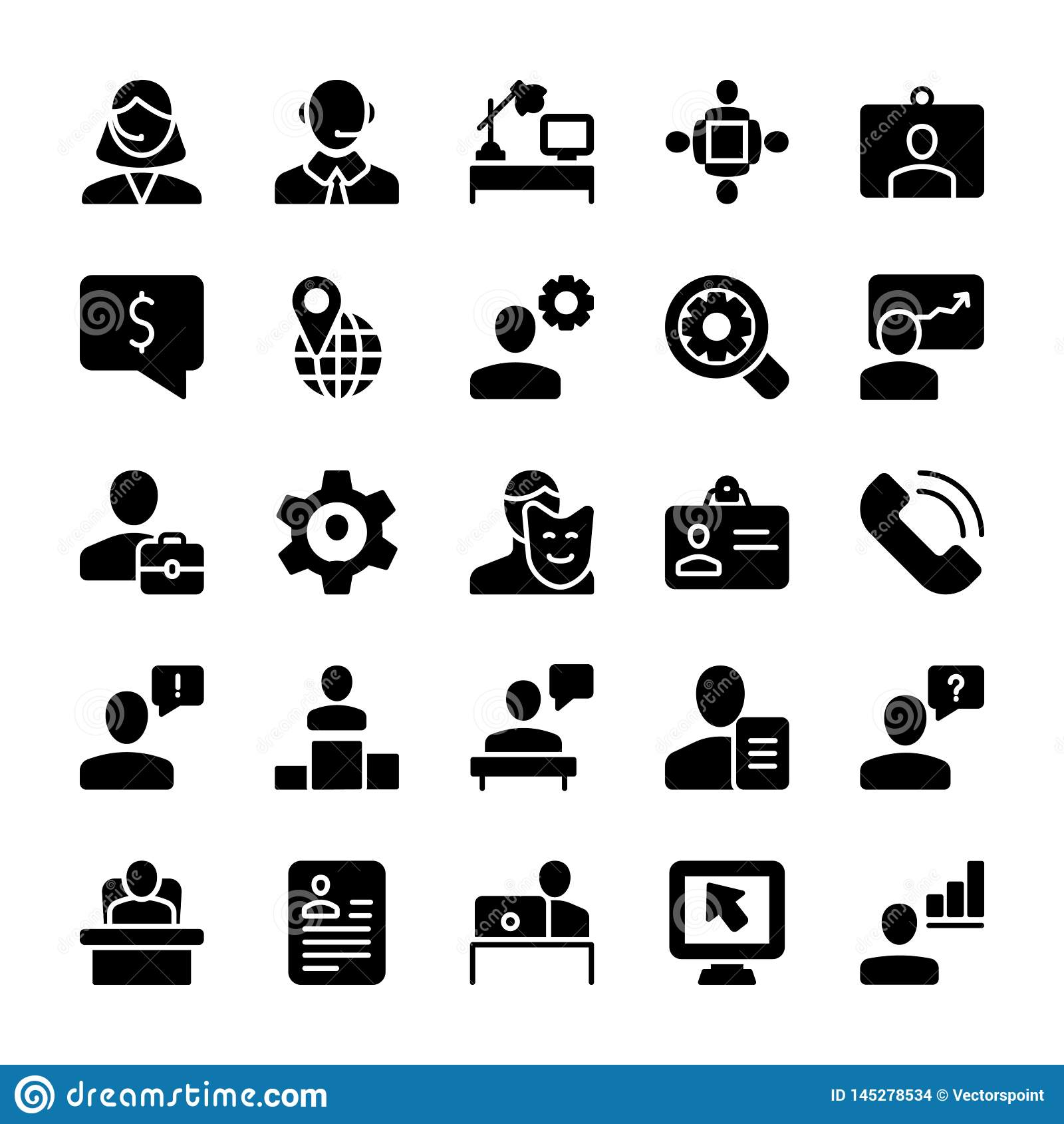 Möte fast symbolsuppsättning för arbetsplats