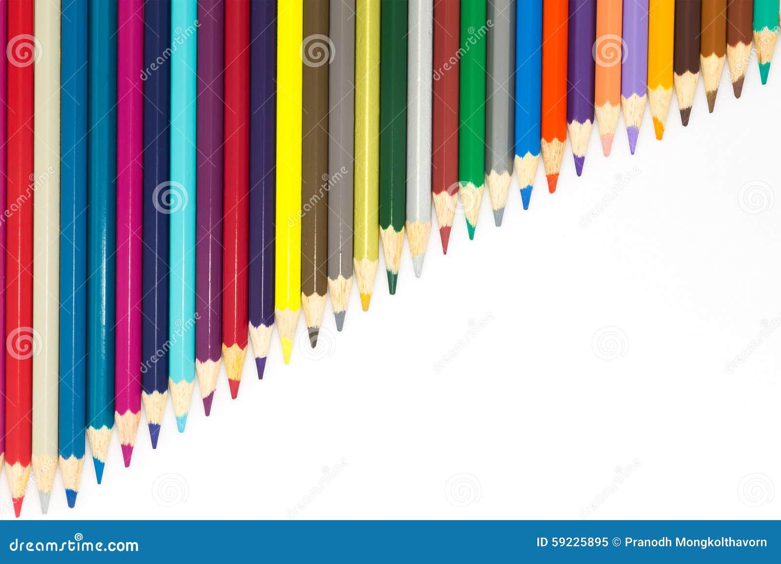Download Múltiplo Del Lápiz De Los Colores En Blanco Imagen de archivo - Imagen de grupo, colorante: 59225895