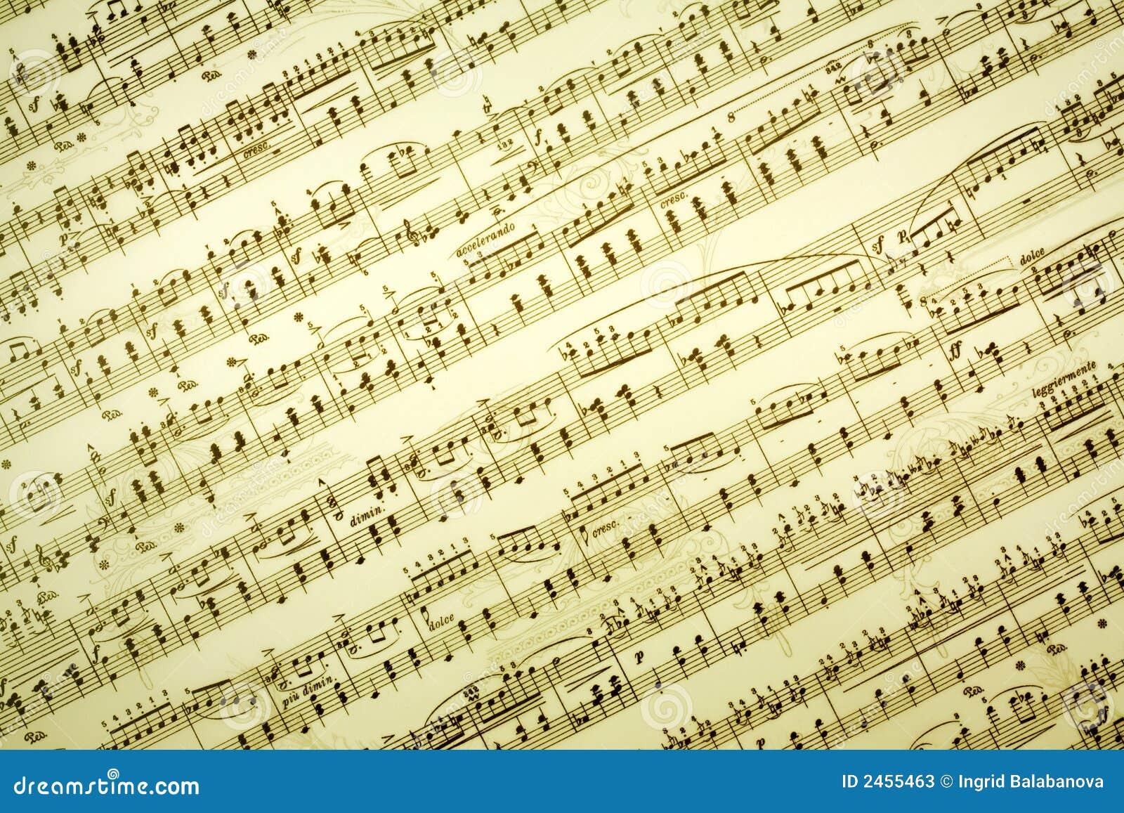 A música anota o fundo