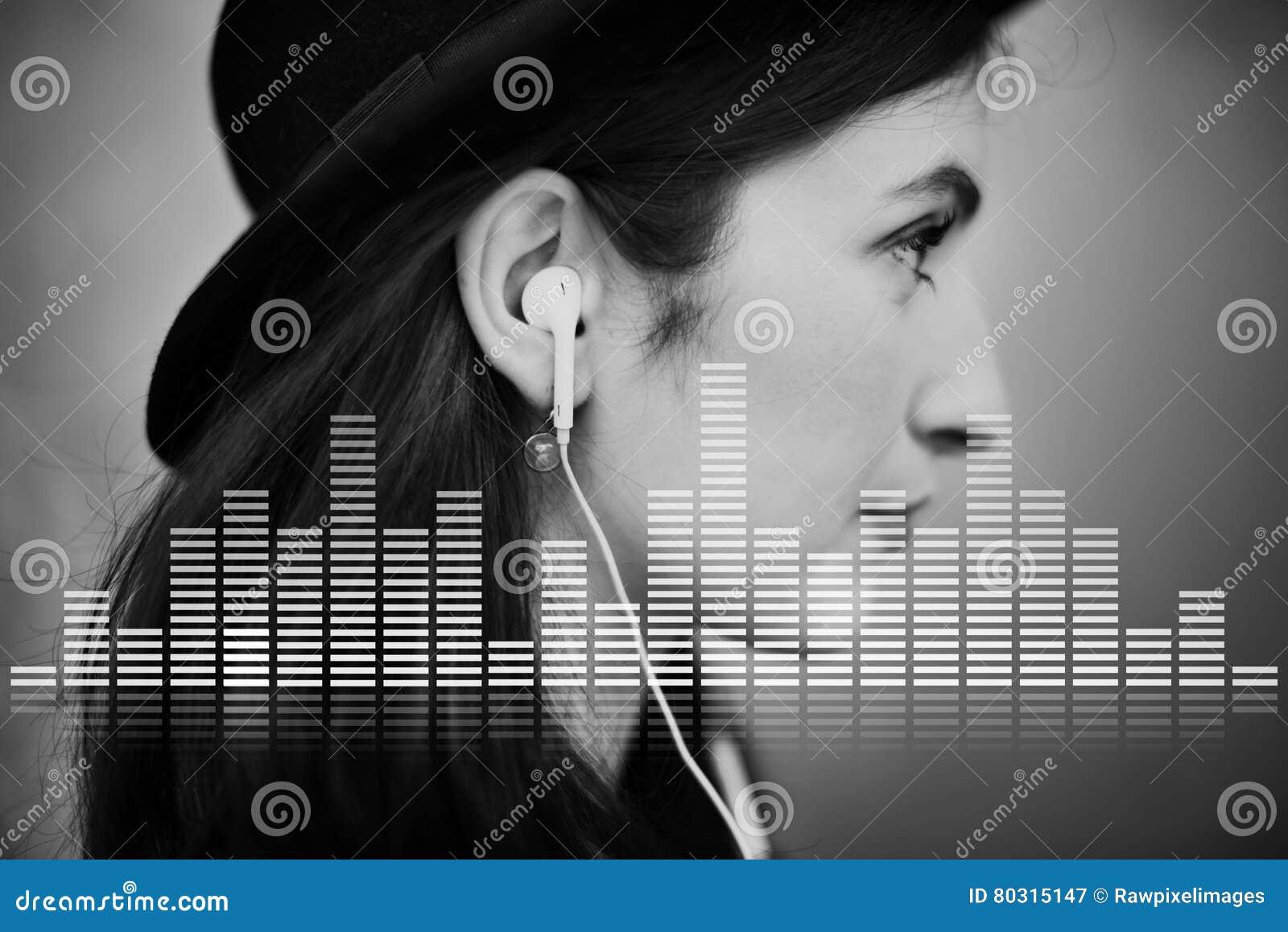 A música audio do equalizador de Digitas ajusta o conceito do gráfico da onda sadia