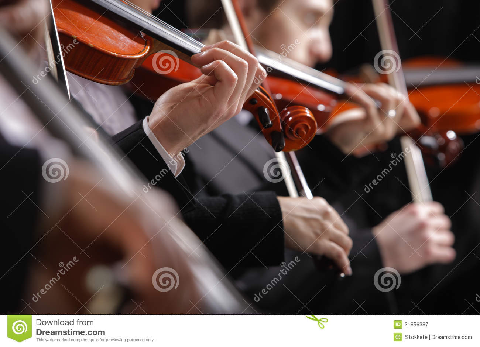 Música clásica. Violinistas en concierto