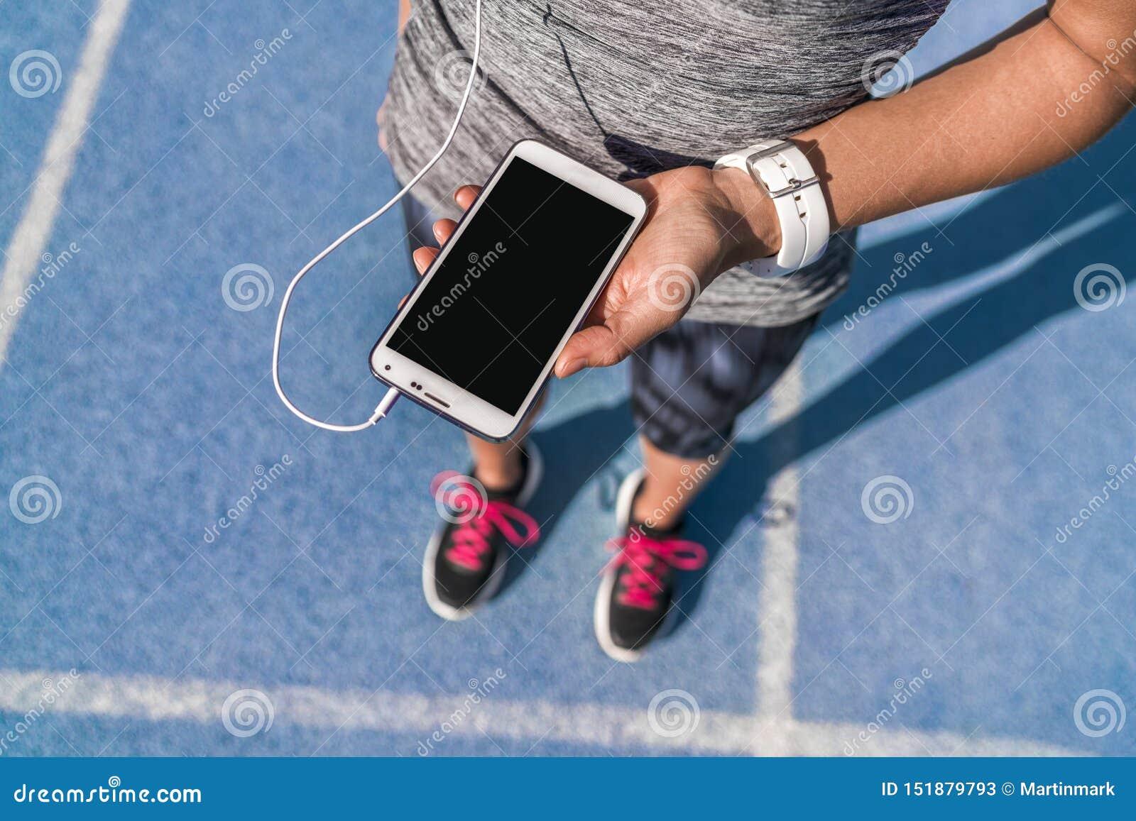 Música de la pantalla del teléfono de la muchacha del corredor para la pista de funcionamiento