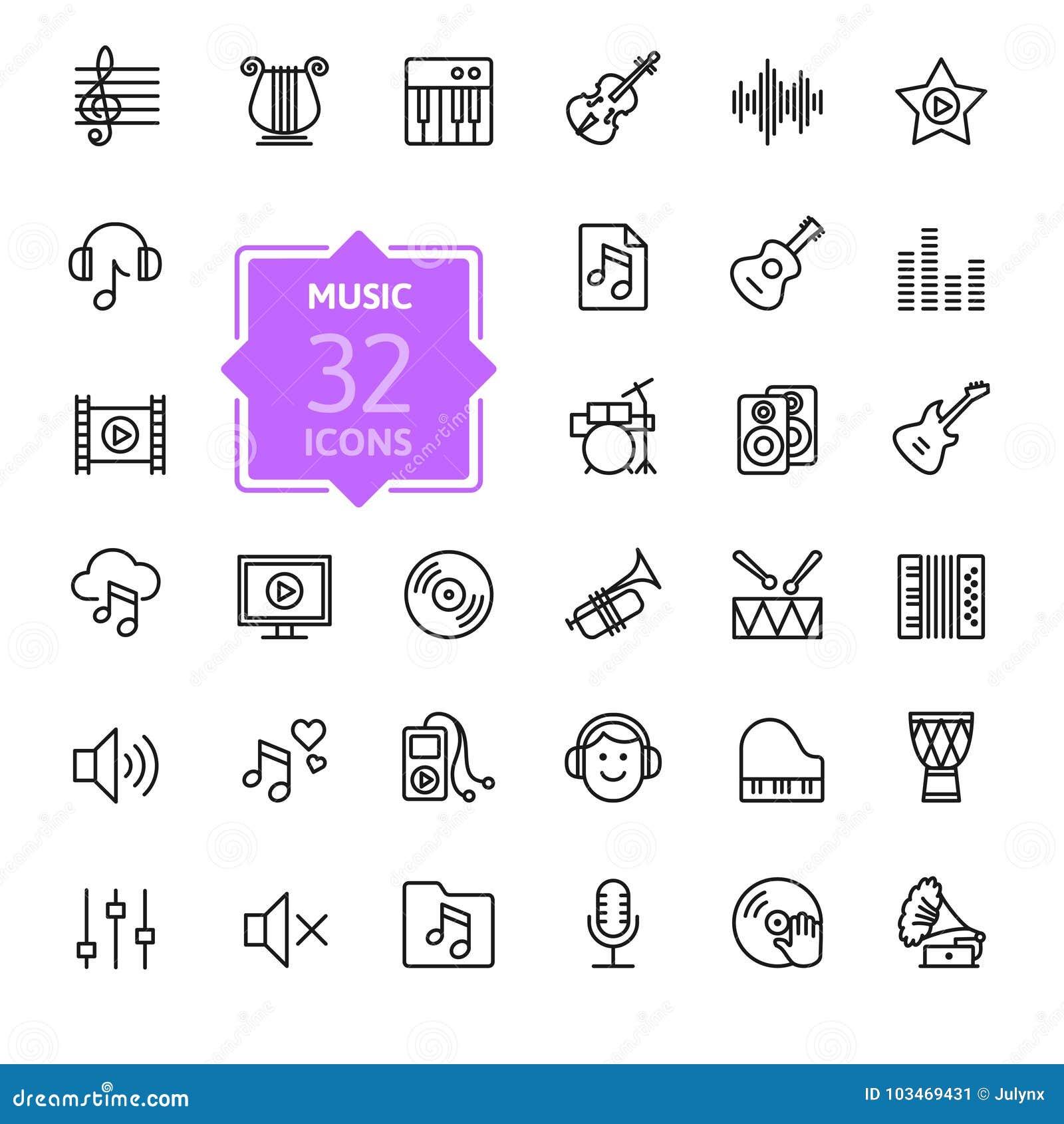 Música, grupo do ícone dos instrumentos musicais Ilustração do vetor