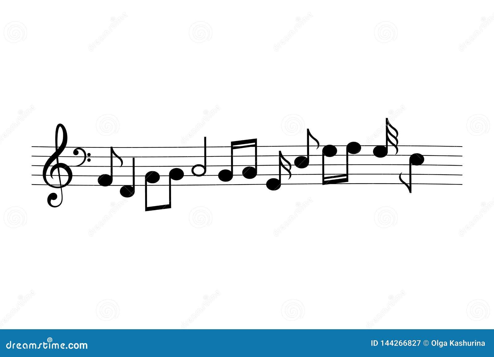 A música nota desenhos animados do vetor
