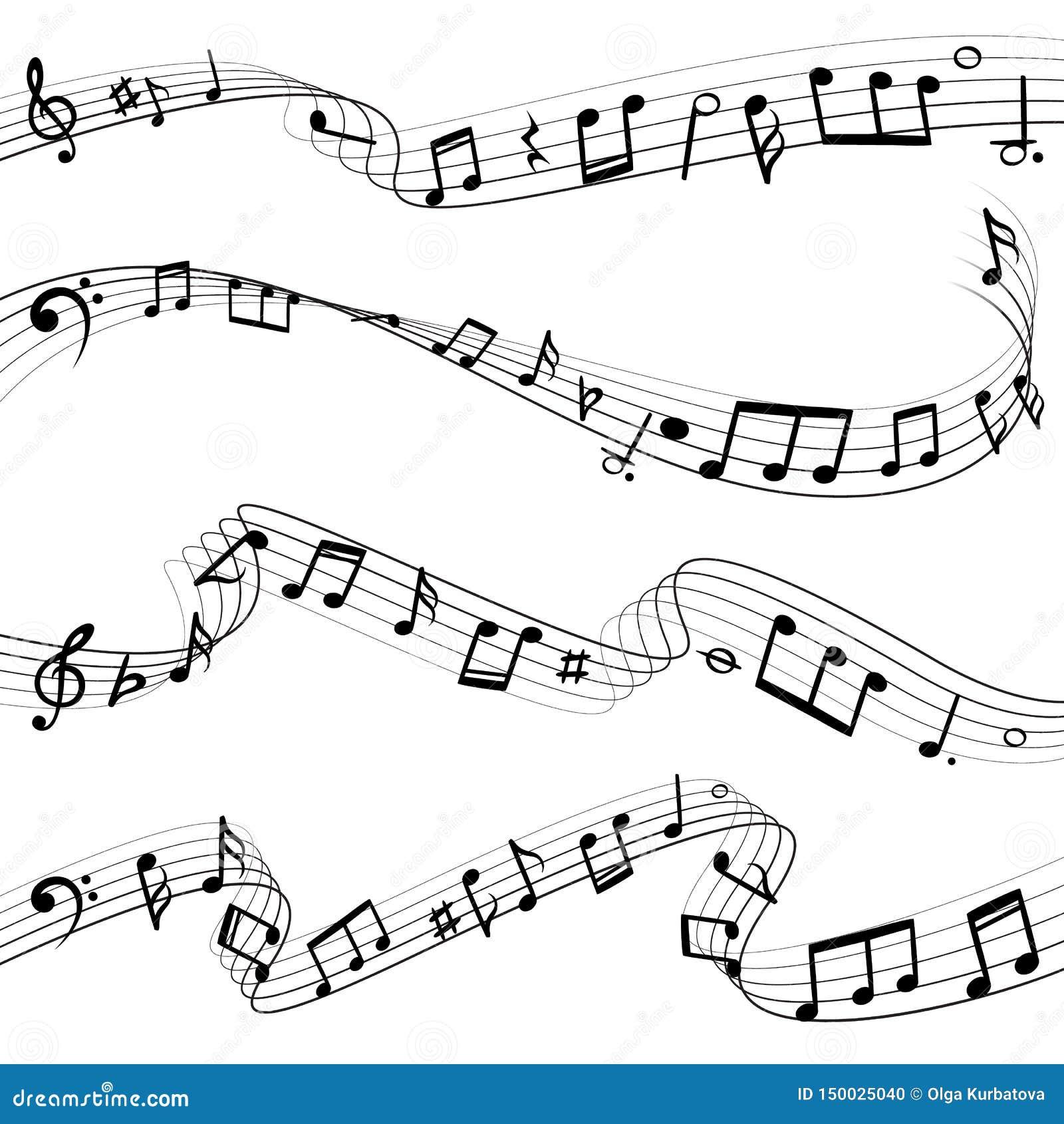 A música nota o fluxo Composição da chave da nota musical, silhuetas do preto da melodia, grupo do vetor de ondas da música
