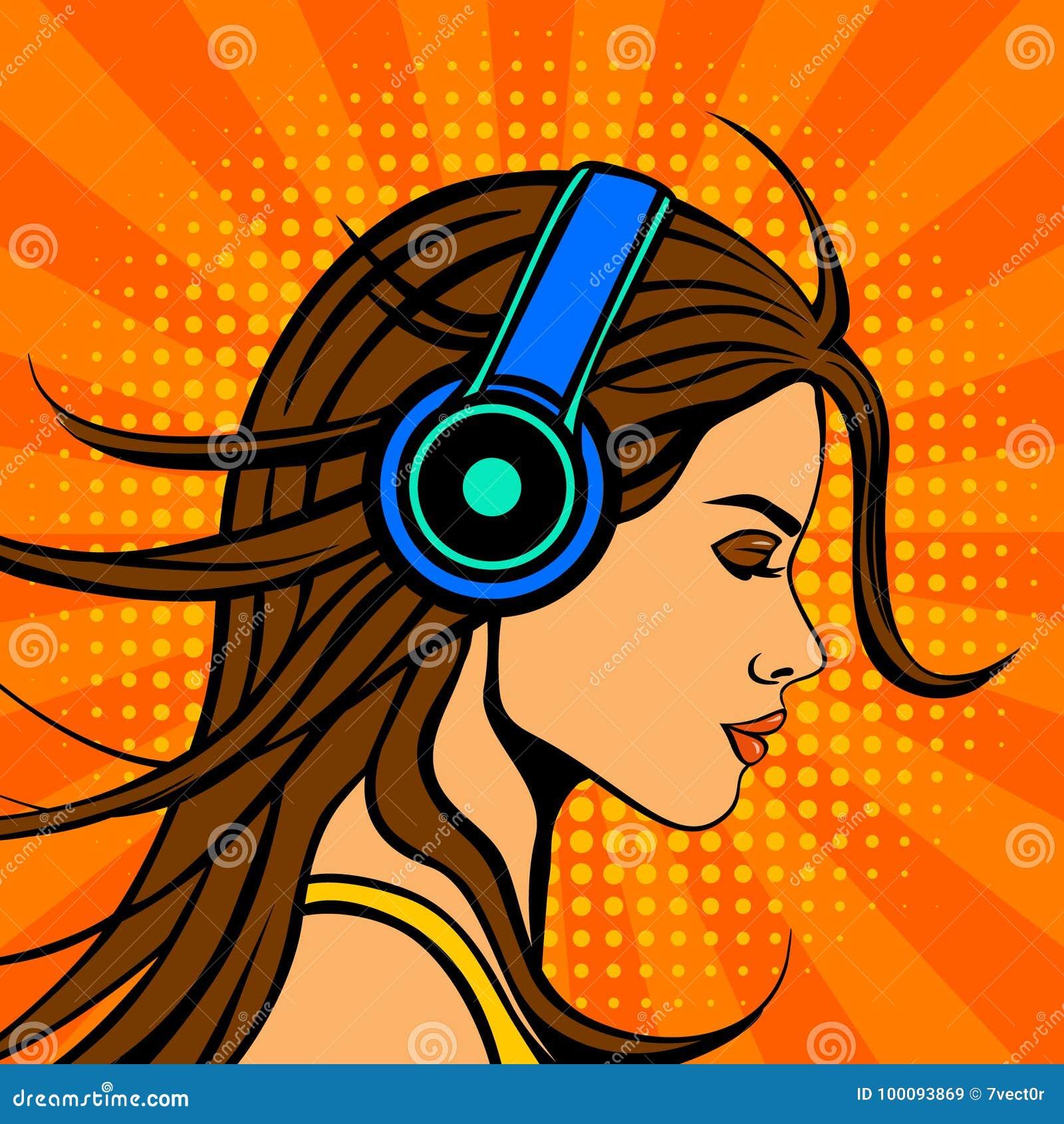 Música que escucha de la mujer del estilo del cómic del arte pop en auriculares