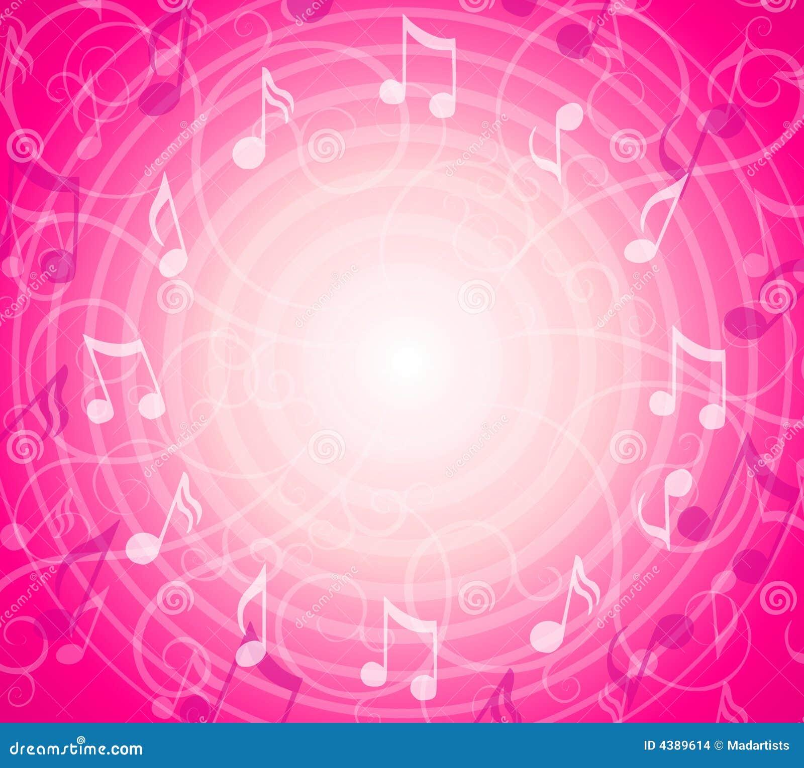 A música radial anota o fundo cor-de-rosa