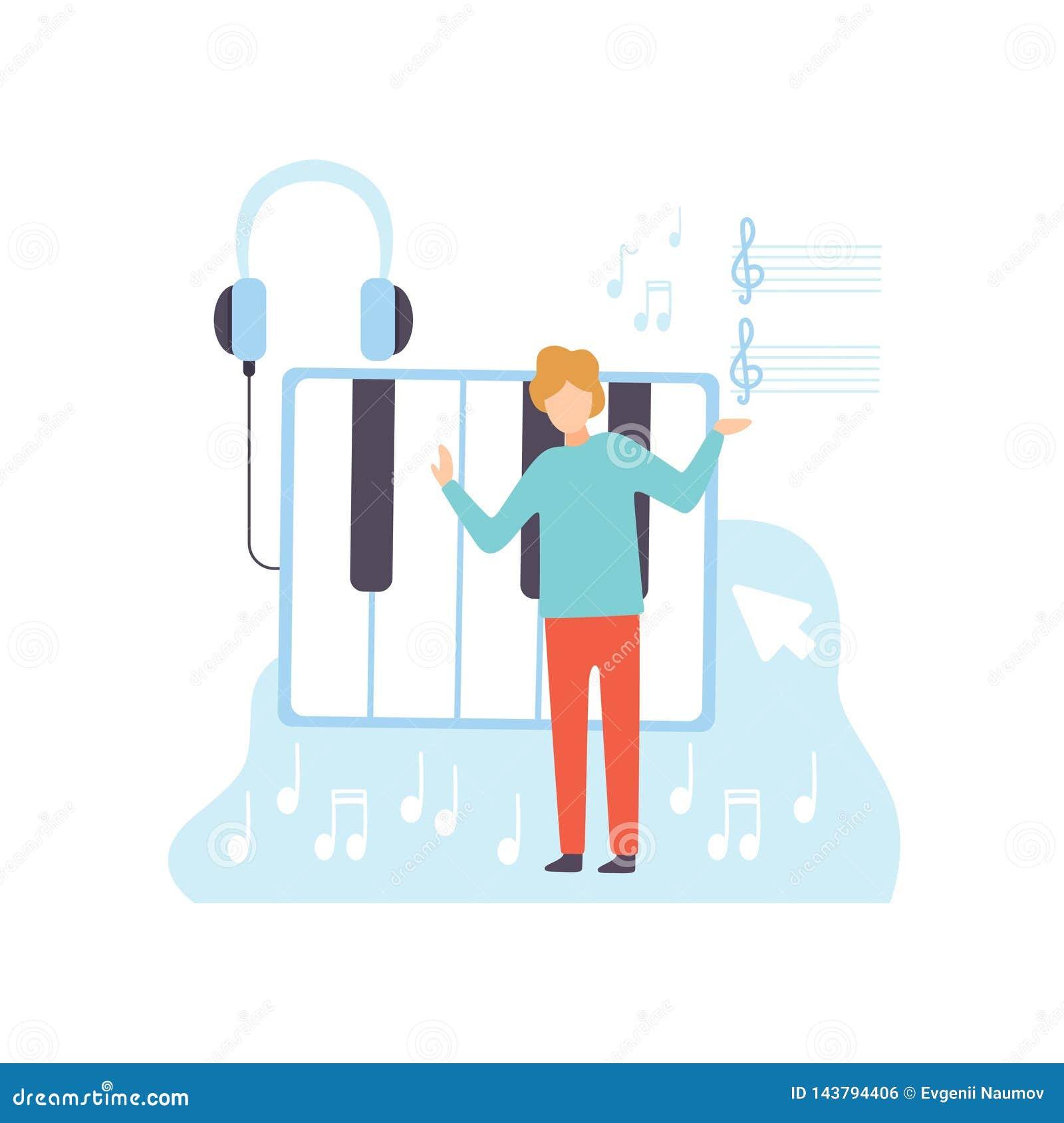 Músico de sexo masculino Creating Music Content, proceso de la tecnología del desarrollo de programas, medios vector de comercial