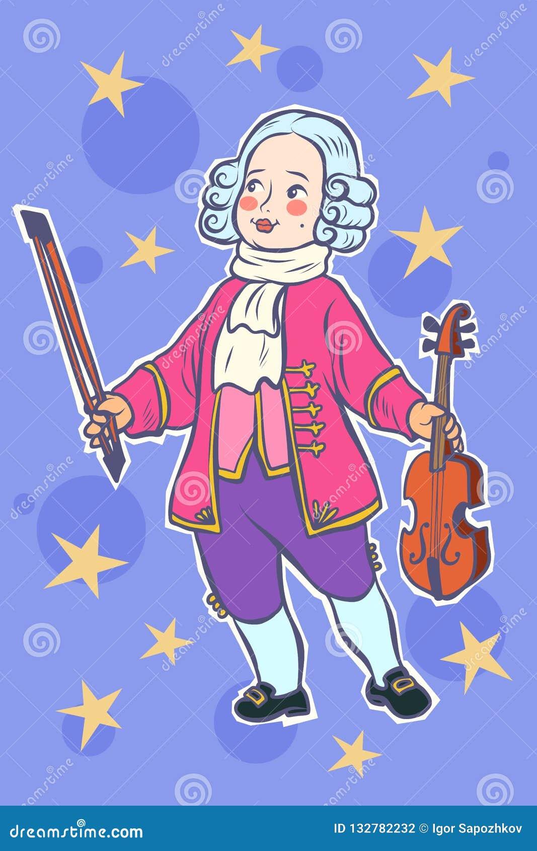 Músico Mozart Pequeno Do Violinista Do Bebê Ilustração do Vetor -  Ilustração de baixo, retro: 132782232