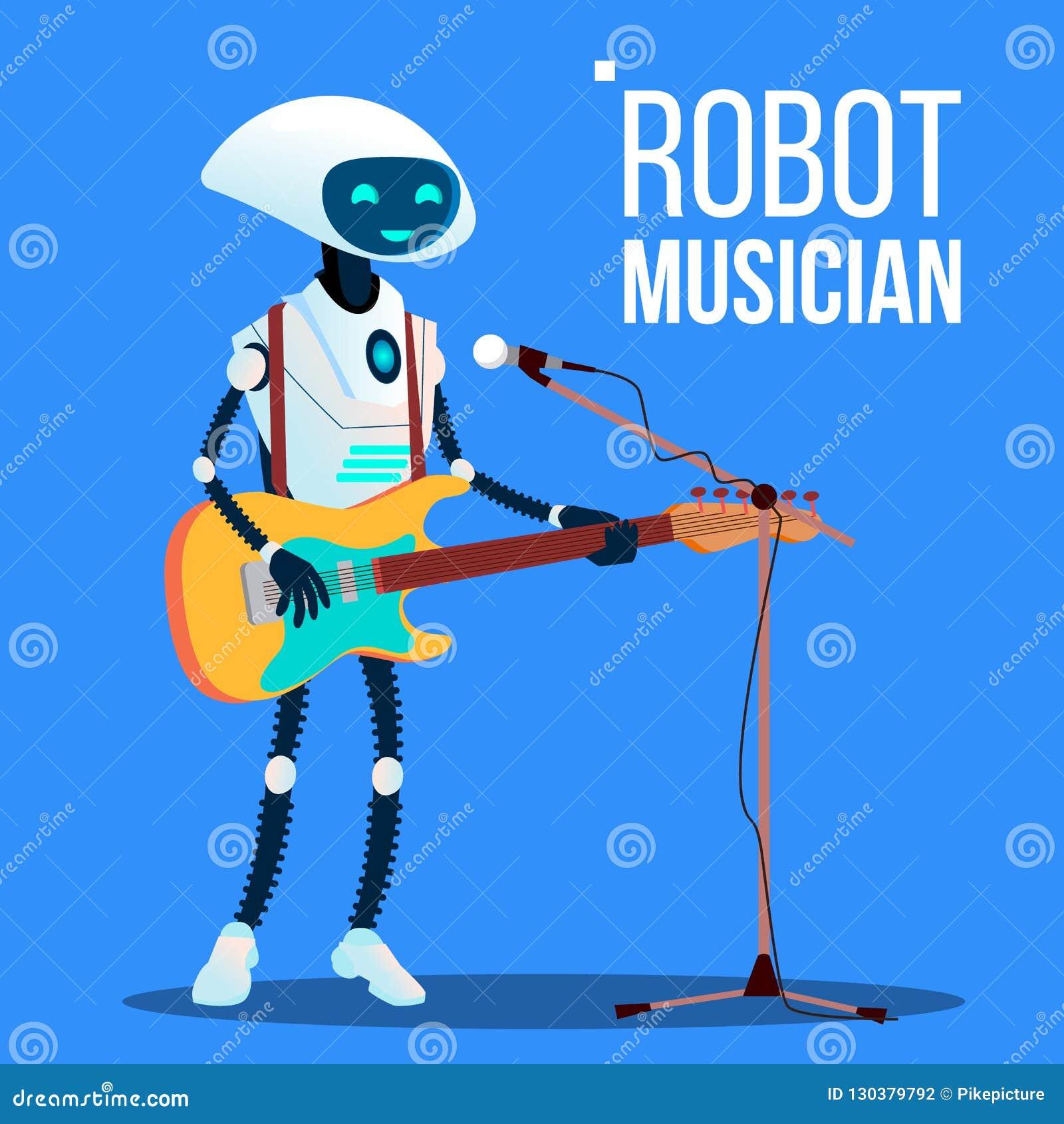Músico Playing Guitar And do robô que canta no vetor do microfone Ilustração isolada