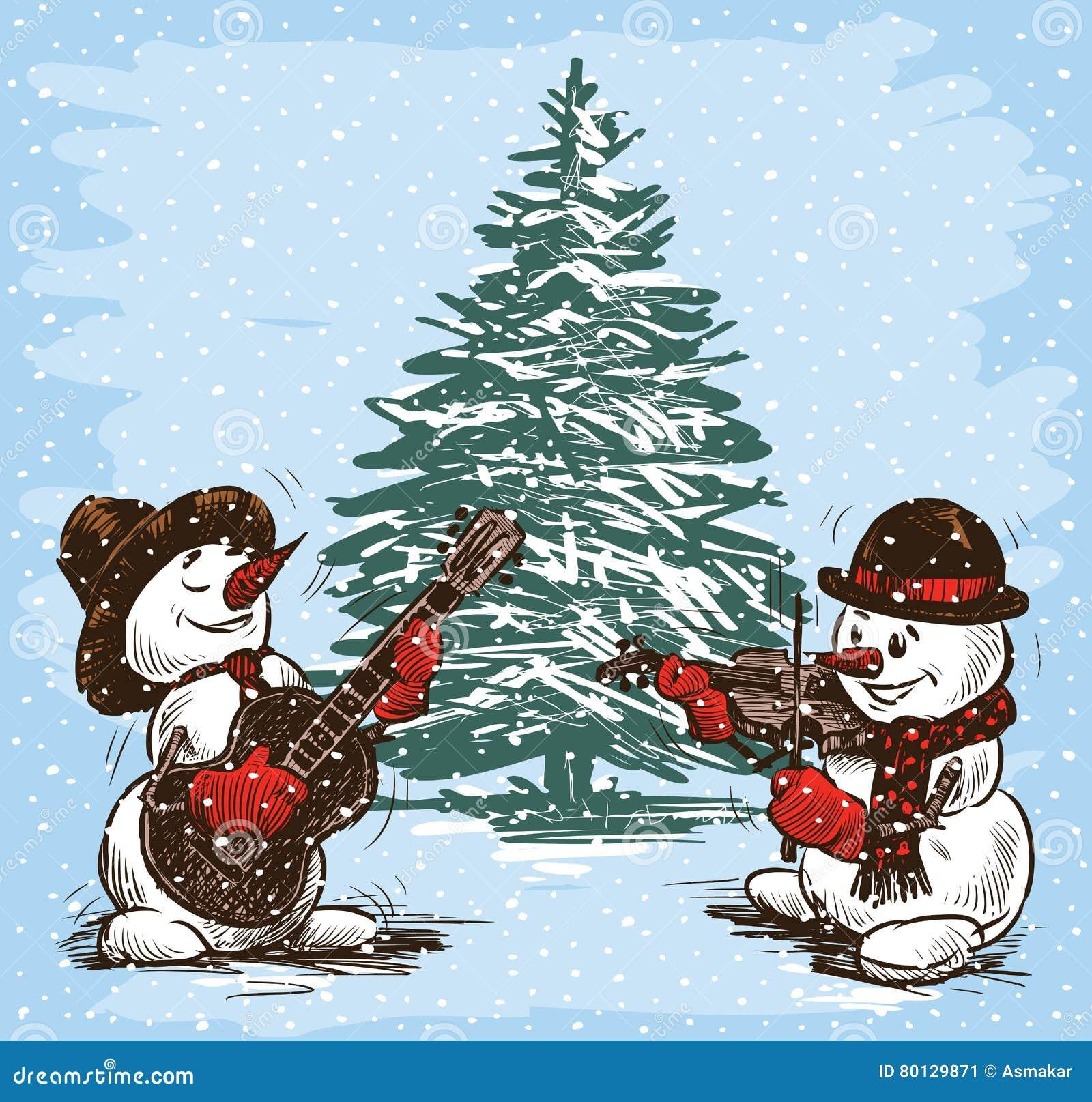 Músicos de los muñecos de nieve en un árbol de navidad