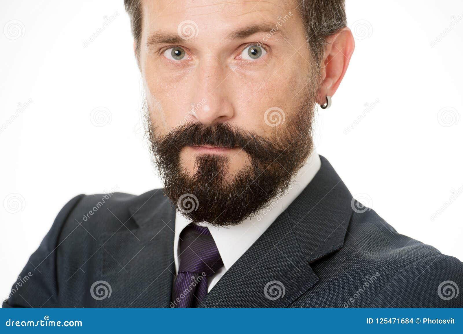 Mûr et expérimenté Calme masculin de visage sûr avec haut étroit de barbe et de moustache Gens d affaires de code vestimentaire B
