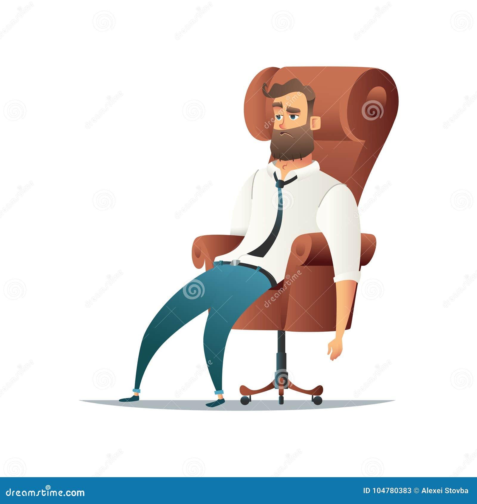Müder Geschäftsmann, der im Stuhl sitzt Erschöpfter, die Büroangestellter oder Manager sich entspannen Katze entweicht auf ein Da