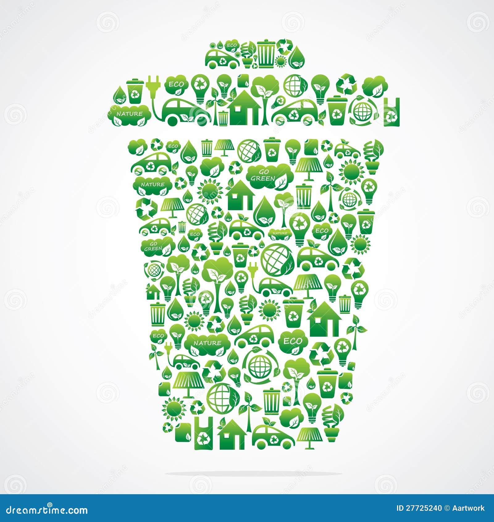 Mülleimer ist Auslegung mit eco Naturikone
