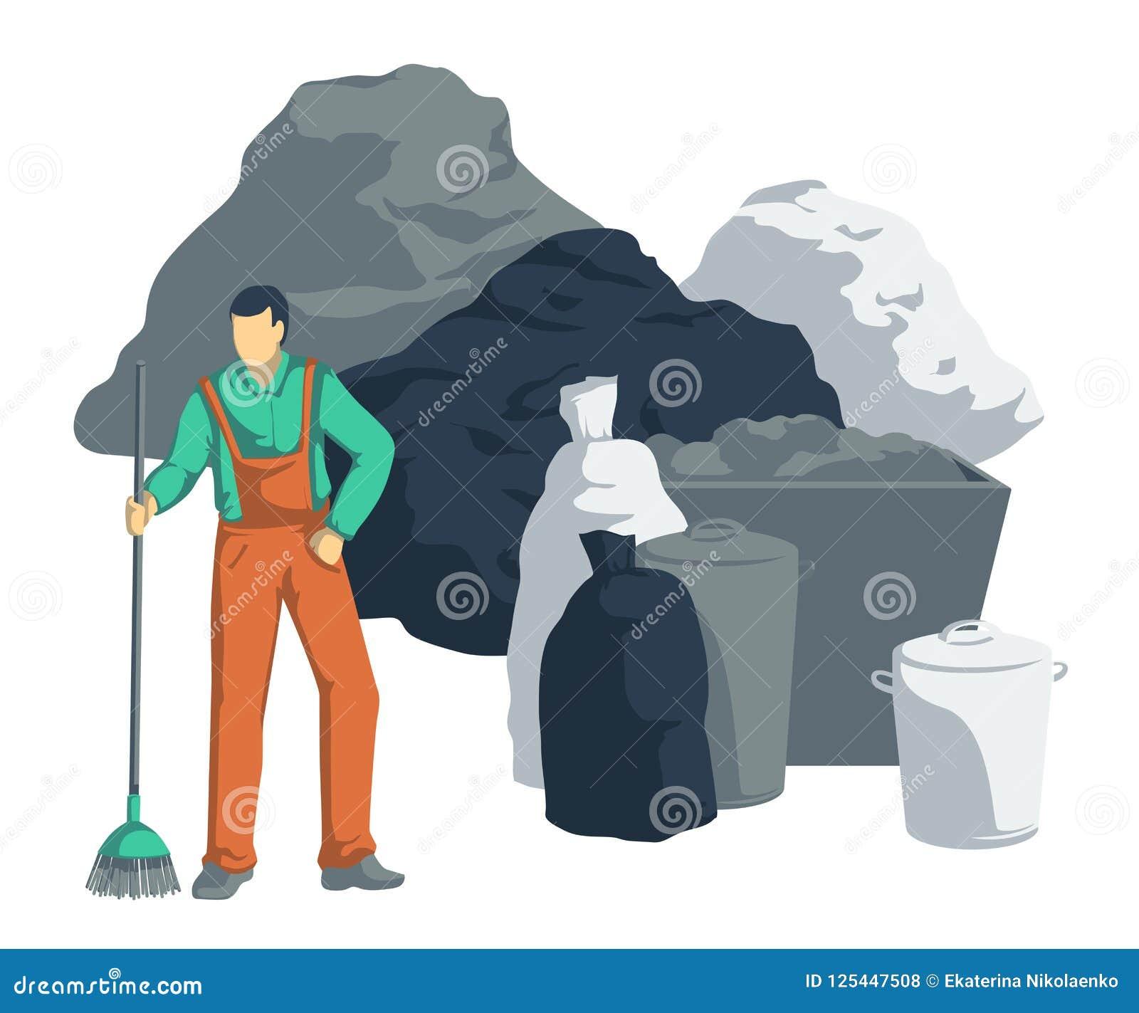 Müllmann räumen Stapel des Abfalls auf Taschen, Dosen, Behälter, Behälter Abfall Getrennte Nachrichten auf weißem Hintergrund
