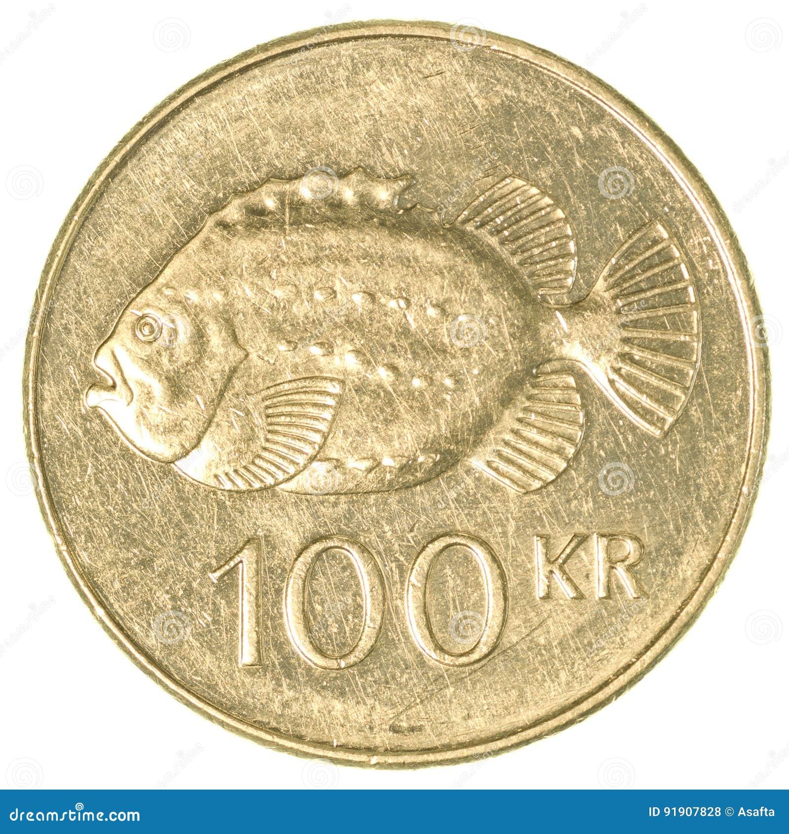 Münze Der Isländischen Krona 100 Stockfoto Bild Von änderung