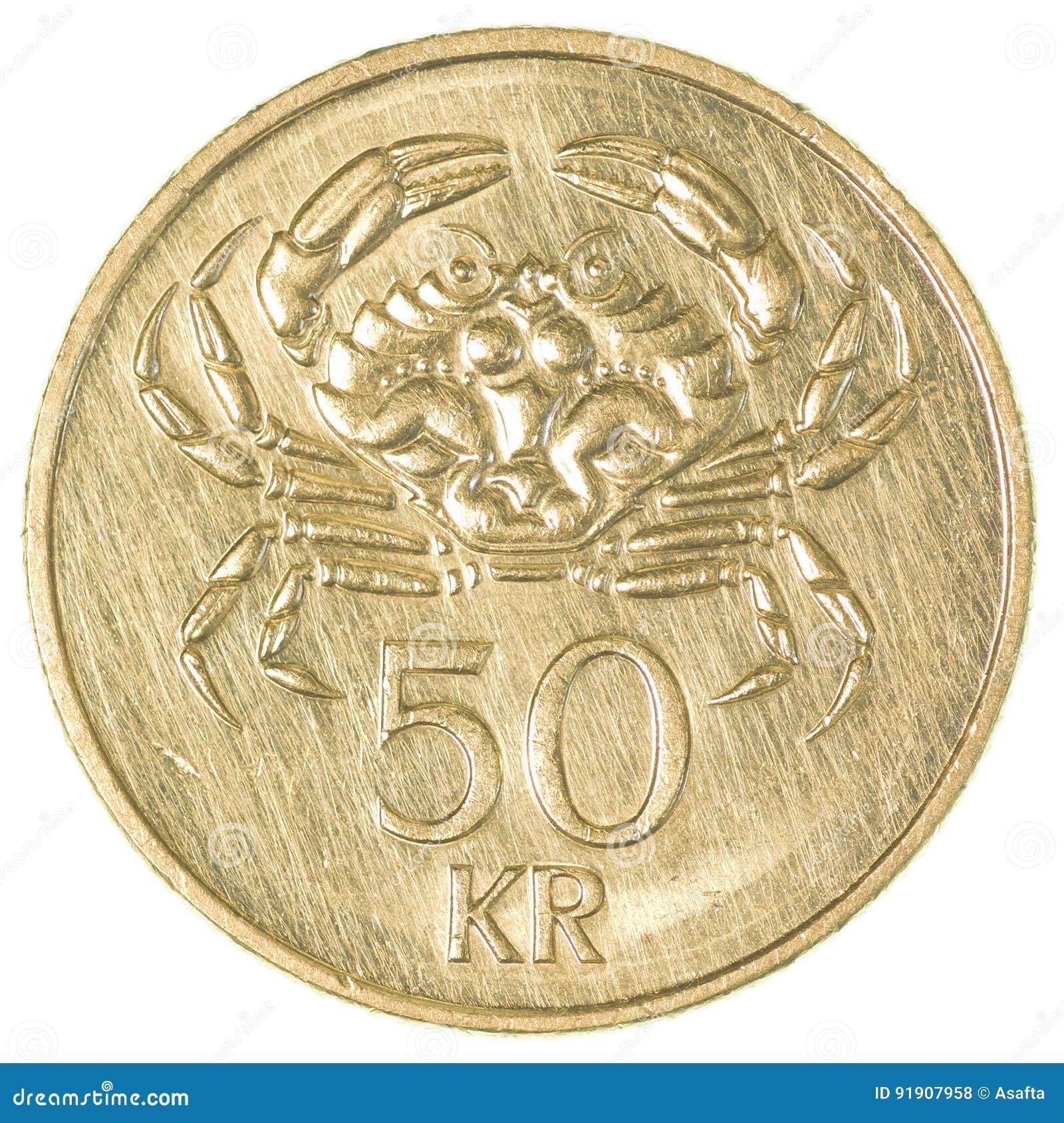 Münze Der Isländischen Krona 50 Stockfoto Bild Von Krona