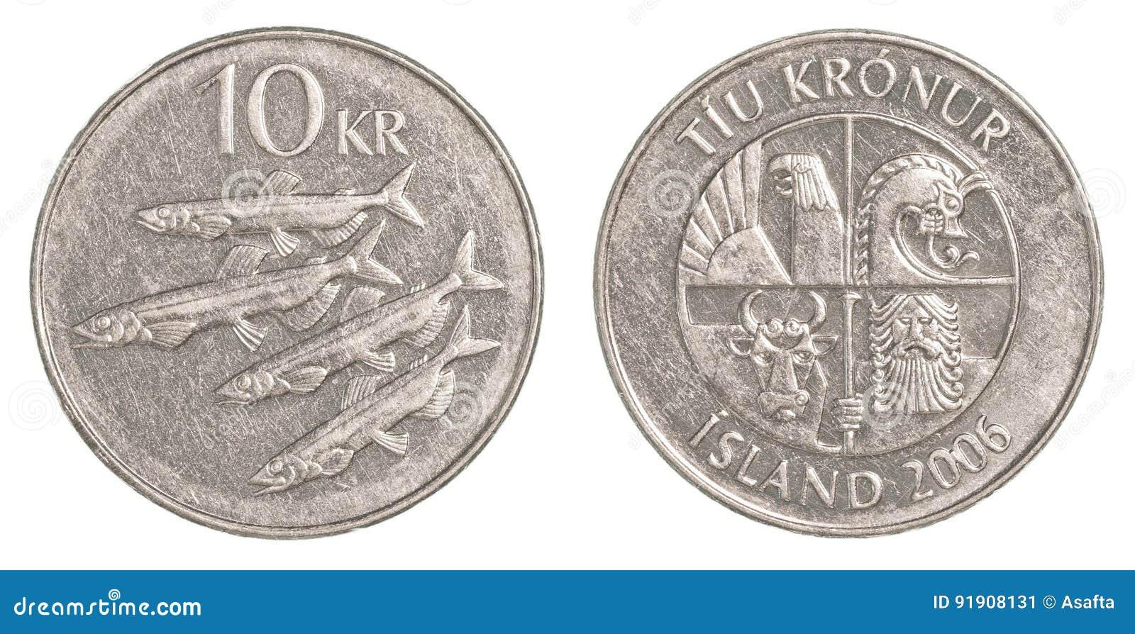 Münze Der Isländischen Krona 10 Stockbild Bild Von Nachricht