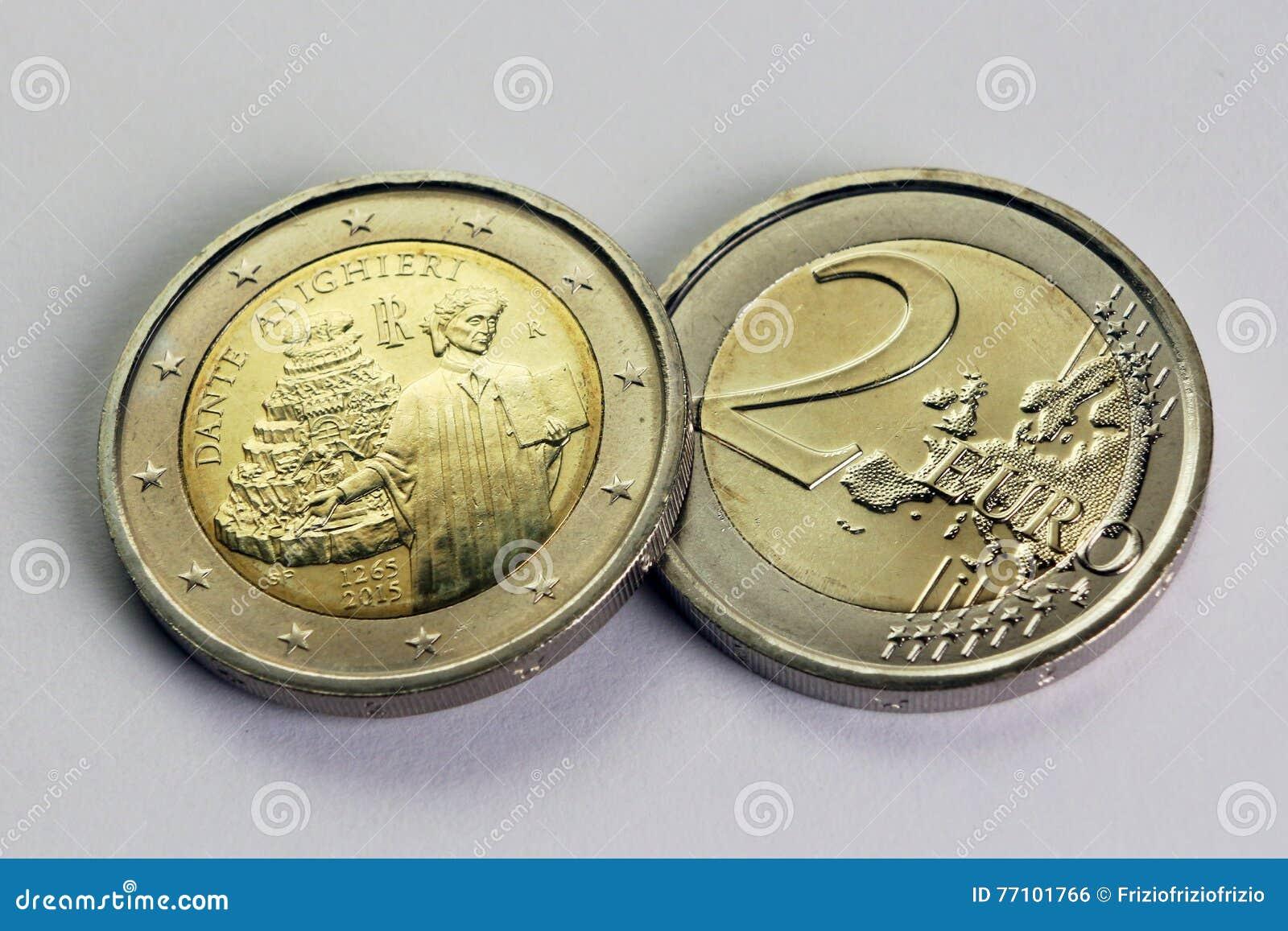 Münze Des Euros Zwei Gedenk Von Dante Alighieri Italien Stockfoto