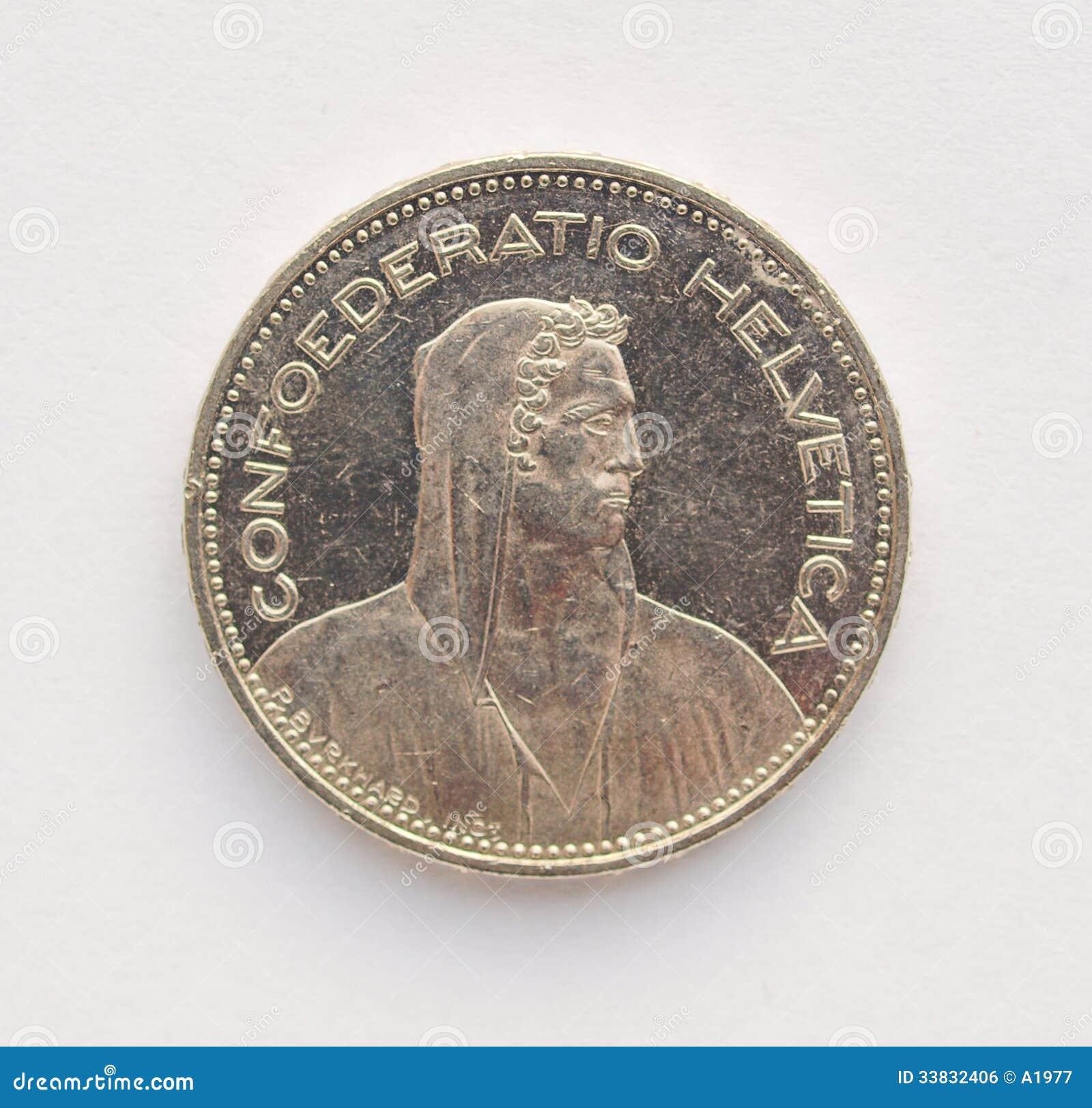 Münze Des Schweizer Franken Chf Stockfoto Bild Von Schweizer