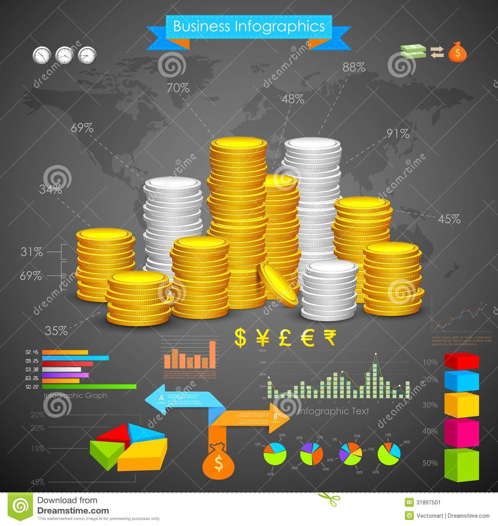 Münzen-Balkendiagramm-Geschäft Infograph
