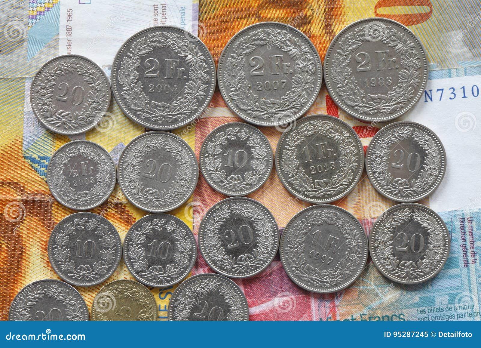 Münzen Der Schweizer Franken Und Rappen Stockbild Bild Von Münzen
