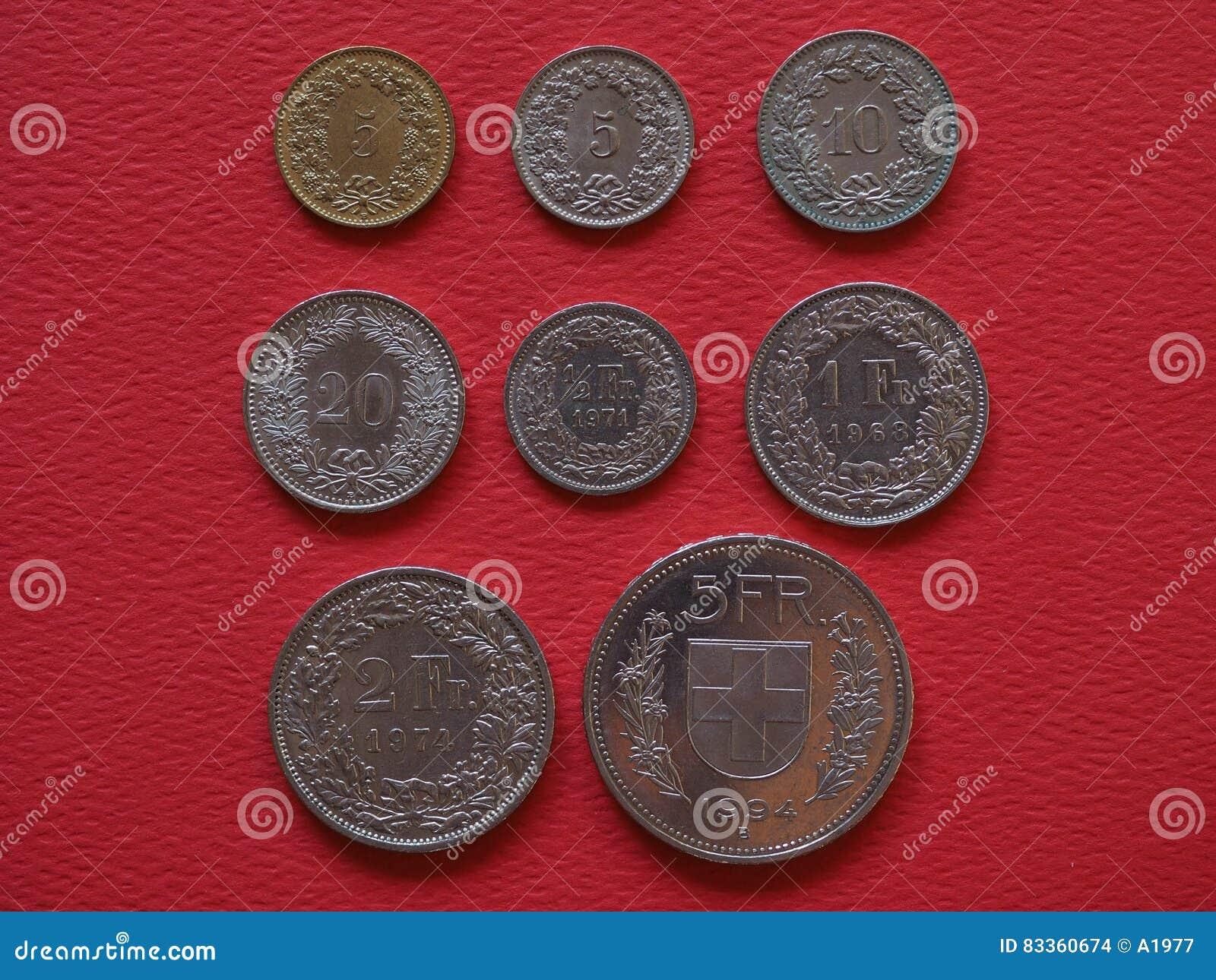 Münzen Des Schweizer Franken Die Schweiz Stockfoto Bild Von