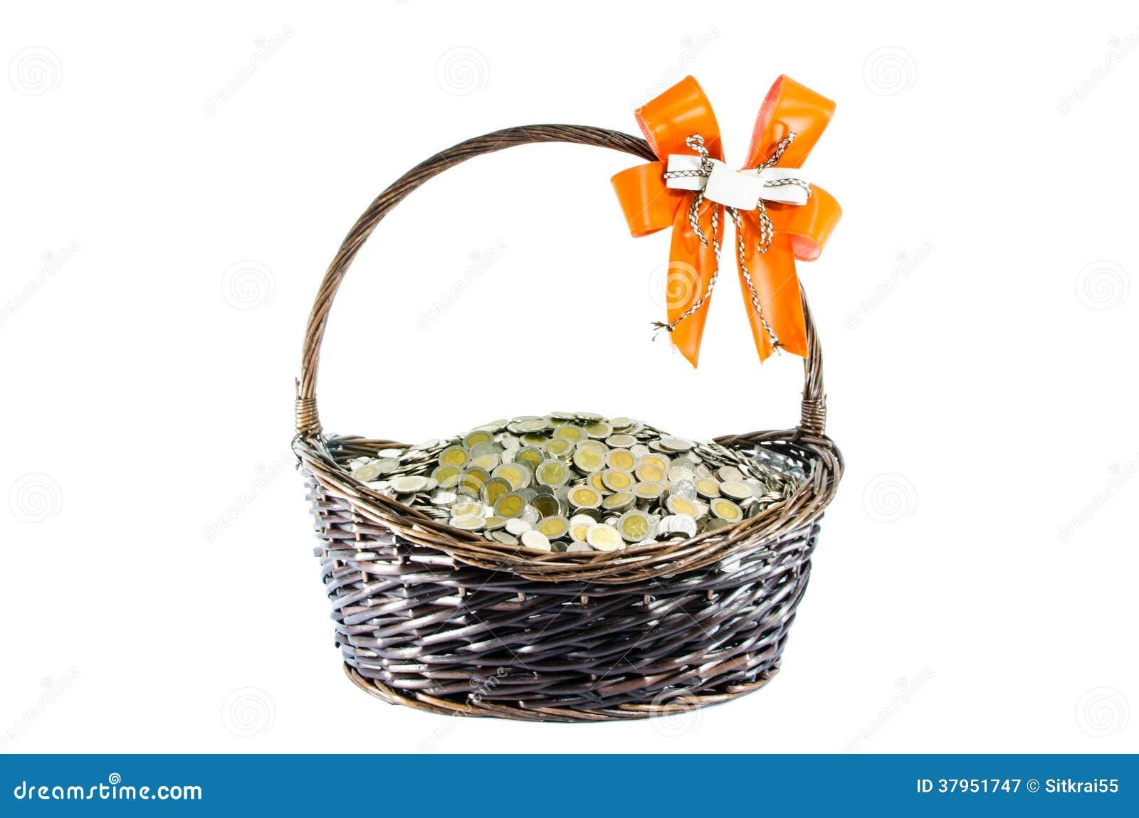 Münzen Geschenk Körbe Stockbild Bild Von Geschäft Ausschnitt
