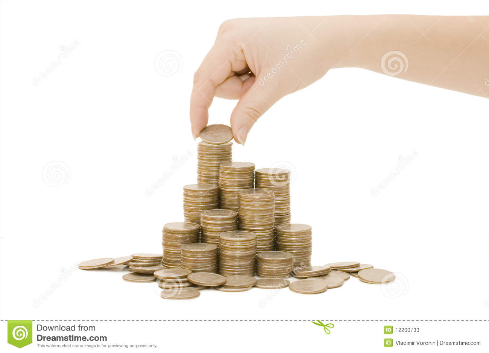 Münzen getrennt auf Weiß