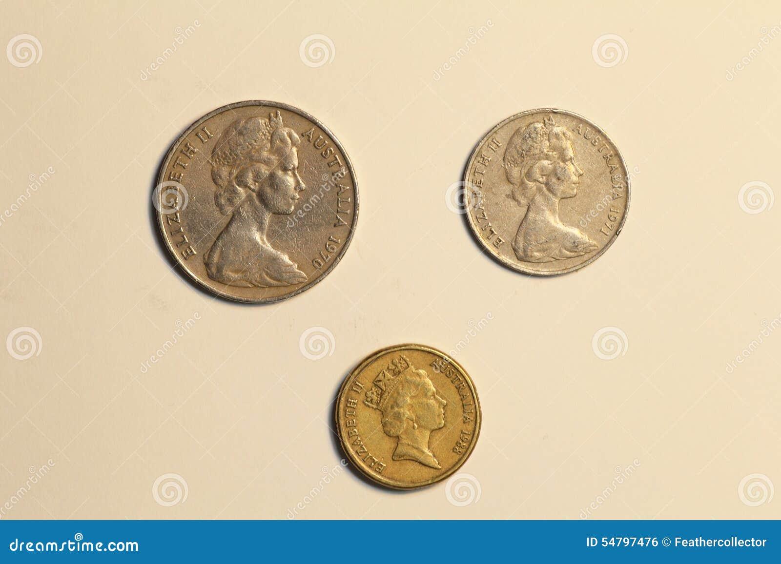 Münzen Von Australien Dollar Stockfoto Bild Von Stapel Metall