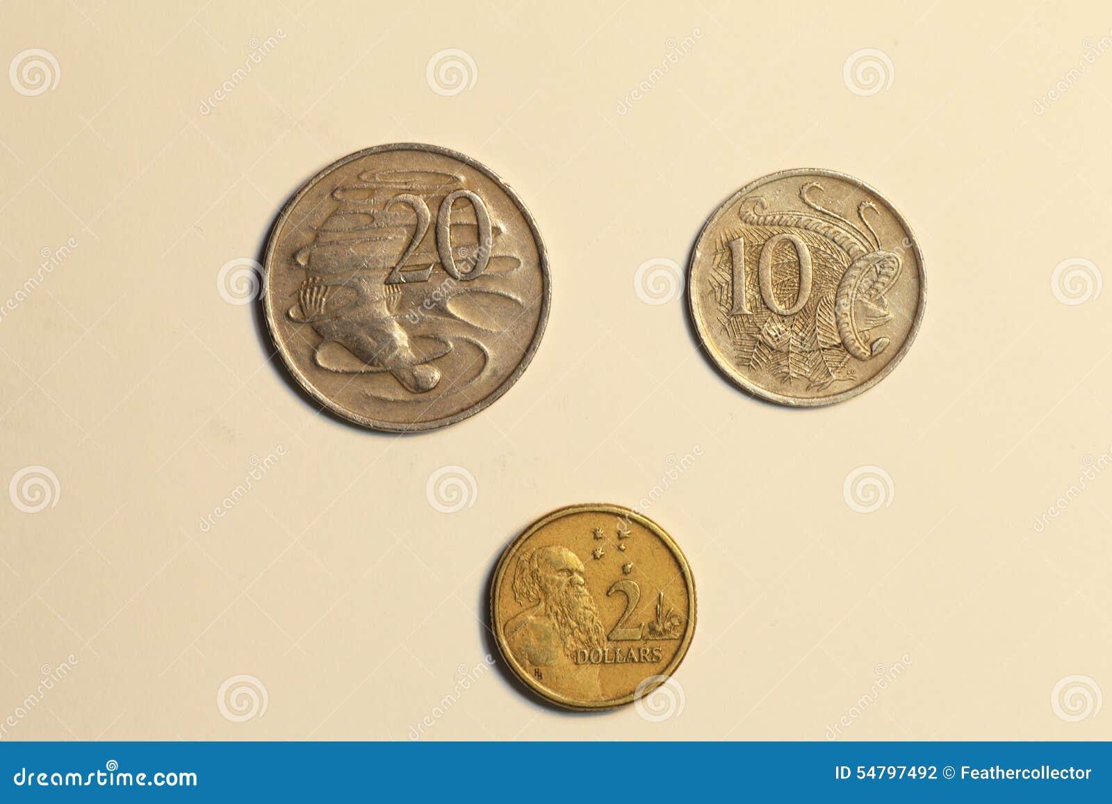 Münzen Von Australien Dollar Stockfoto Bild Von Getrennt Abschluß