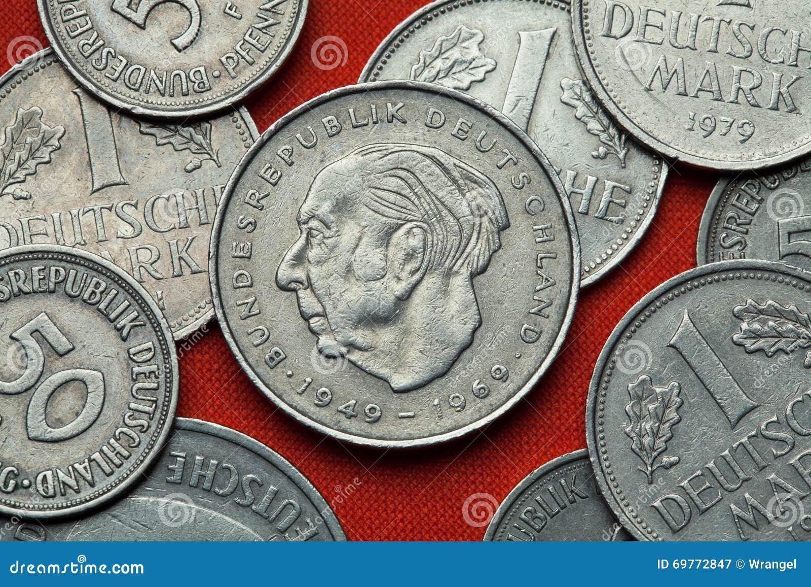 Münzen Von Deutschland Deutscher Staatsmann Theodor Heuss Stockbild