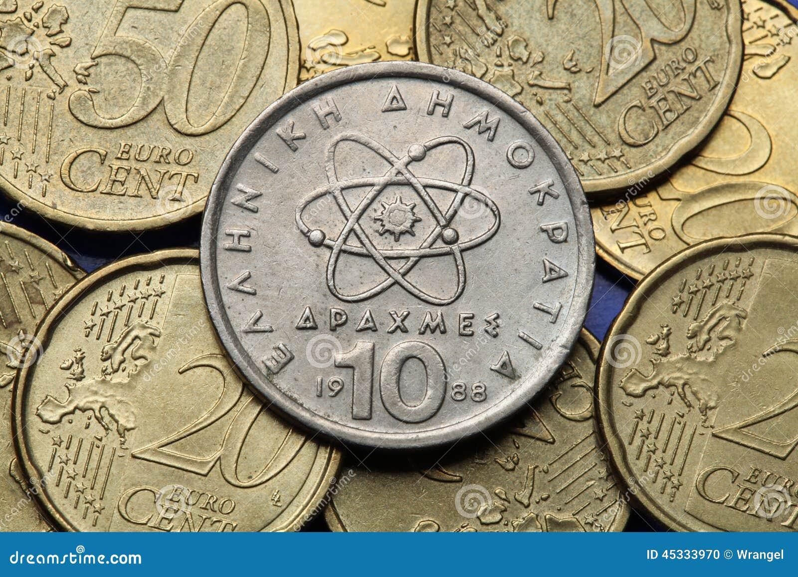 Münzen Von Griechenland Stockfoto Bild Von Europäisch 45333970